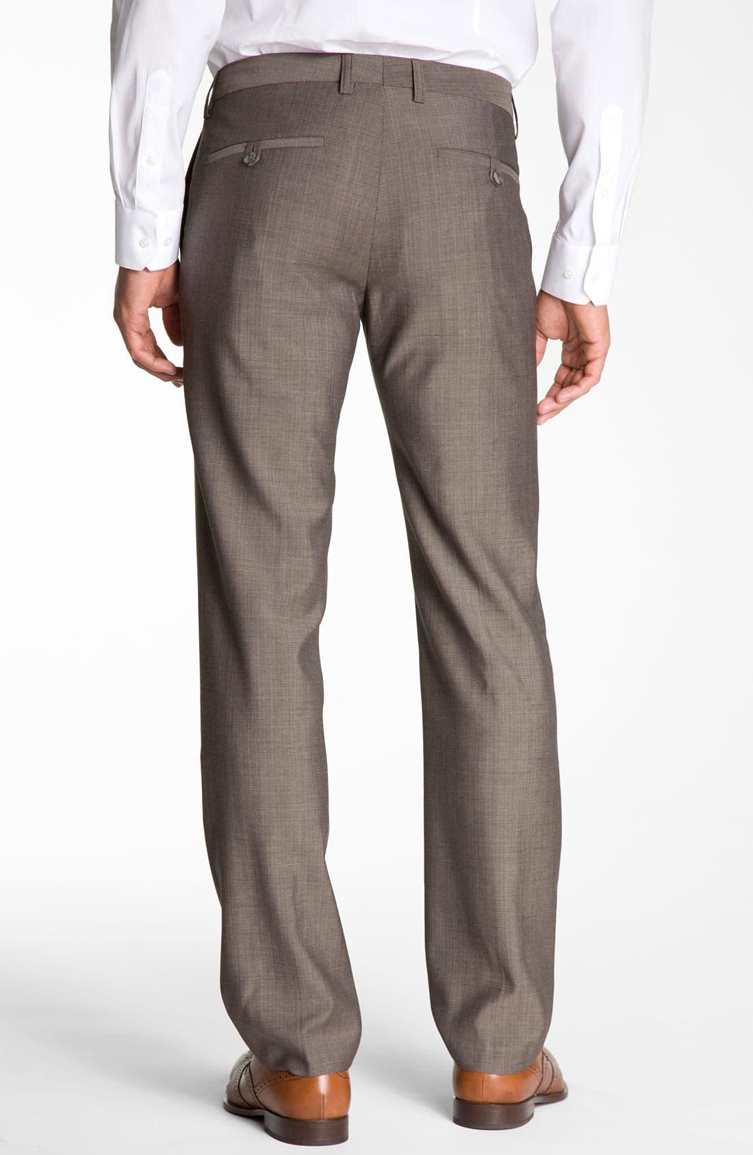 Alternate Image 2  - BOSS Black 'Crigan' Patterned Flat Front Wool Trousers
