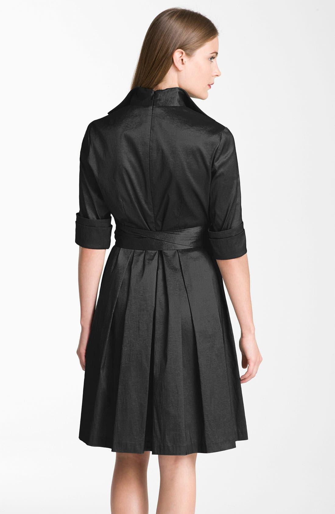 Alternate Image 2  - Donna Ricco Metallic Fit & Flare Taffeta Shirtdress (Regular & Petite)