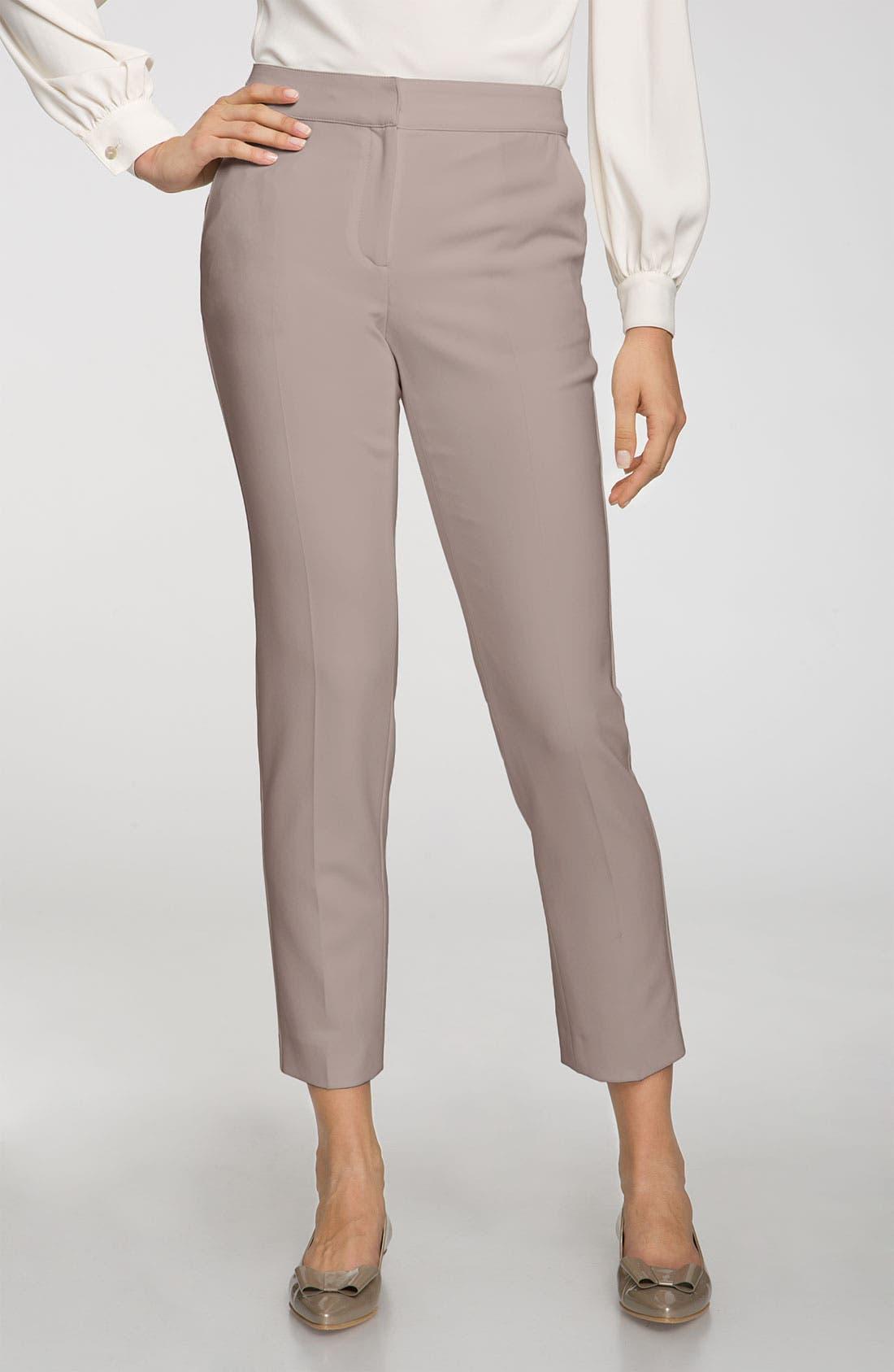 Main Image - St. John Collection 'Emma' Crepe Marocain Crop Pants