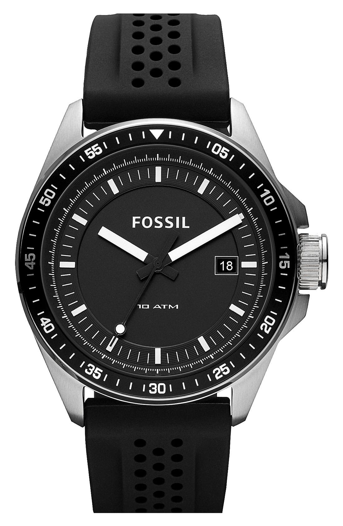 Main Image - Fossil 'Decker' Round Dial Silicone Strap Watch, 44mm