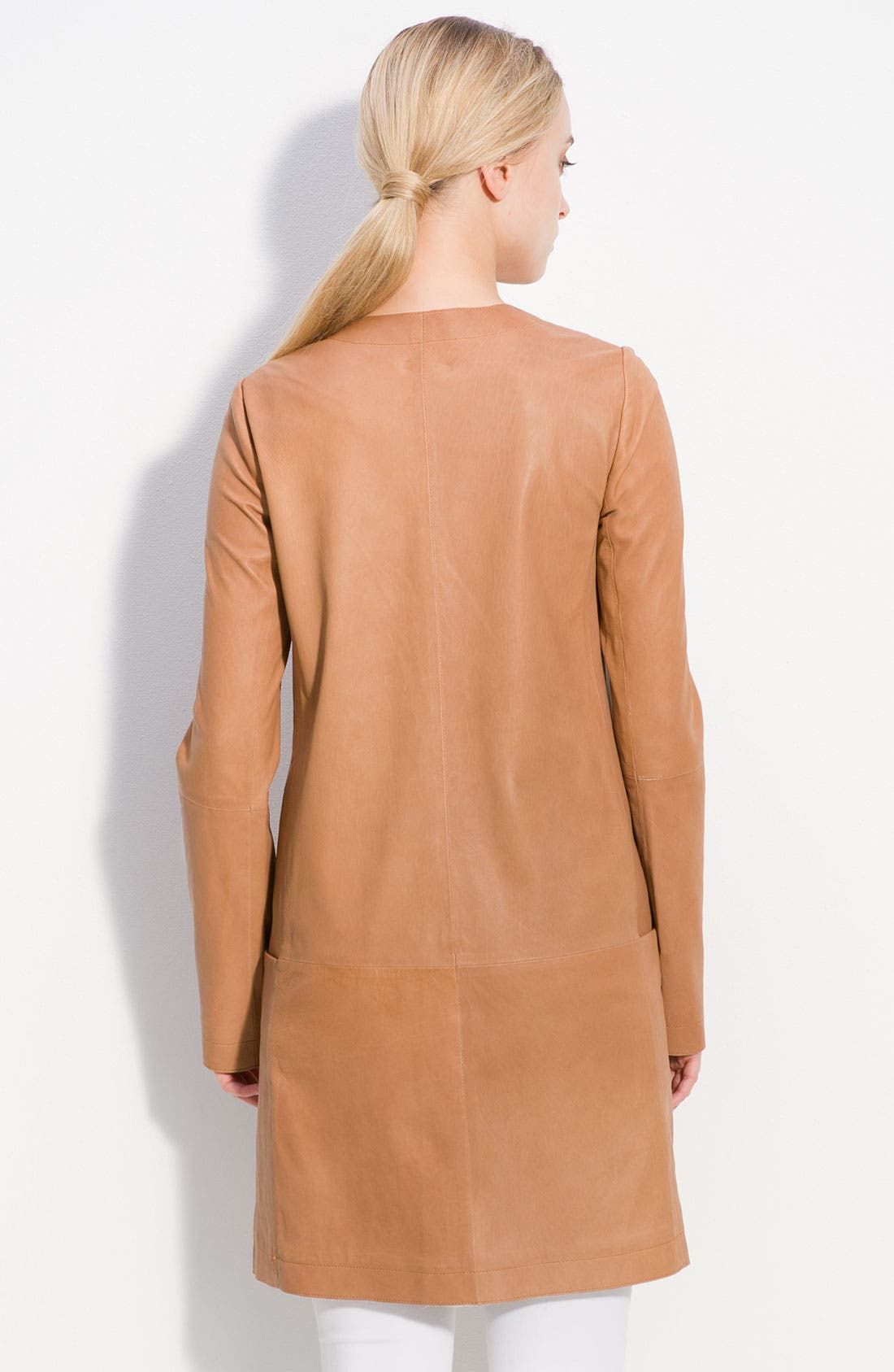 Alternate Image 2  - Vince Lambskin Leather Coat