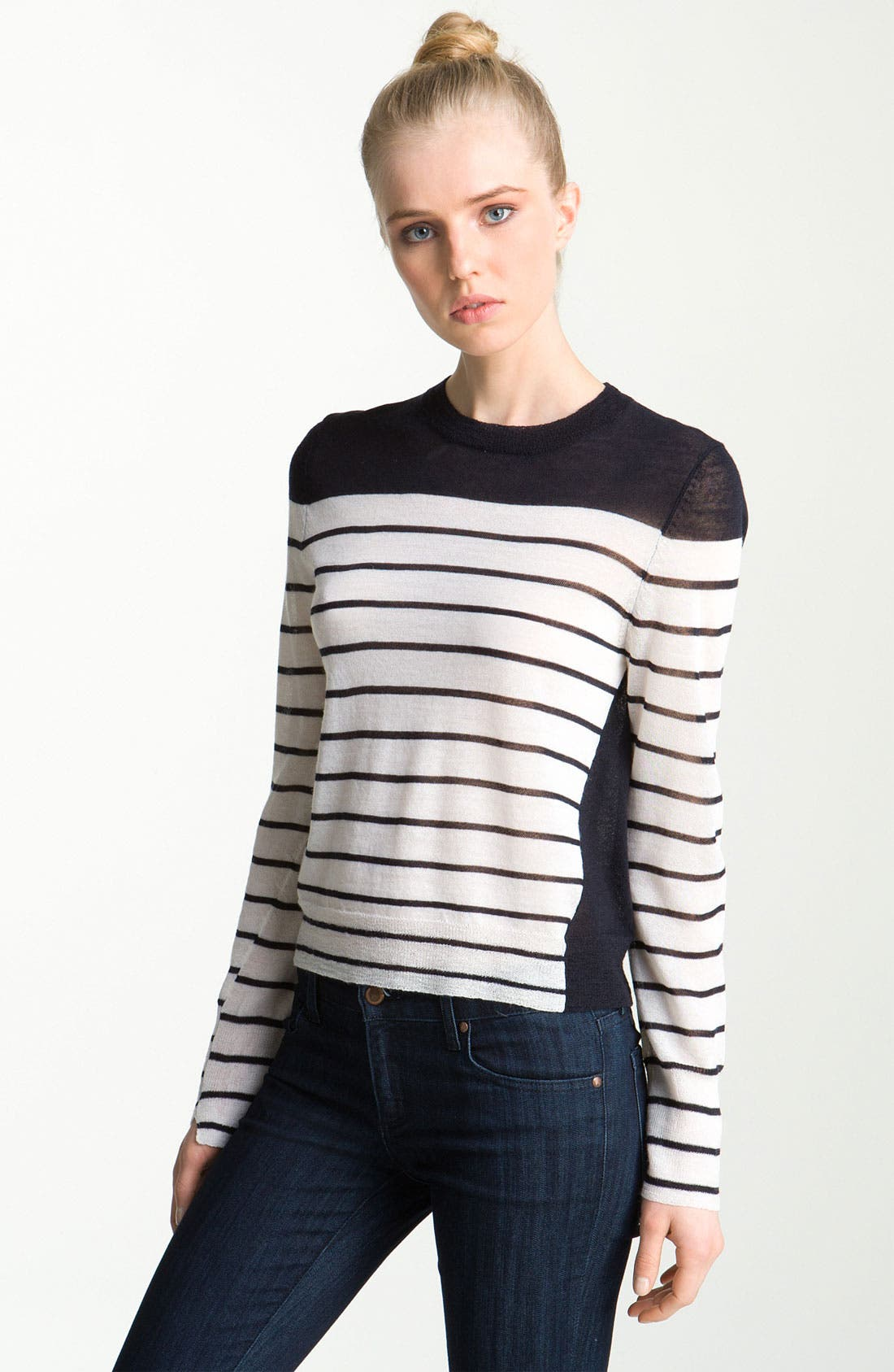 Alternate Image 1 Selected - A.L.C. 'Faye' Asymmetrical Contrast Sweater