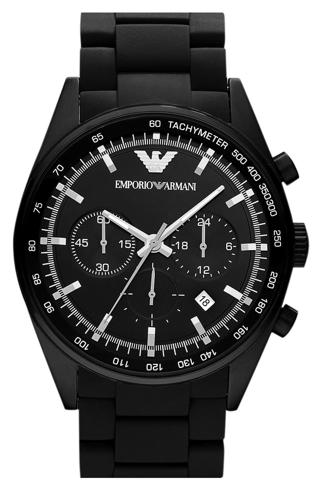 Main Image - Emporio Armani Round Silicone Bracelet Watch, 43mm