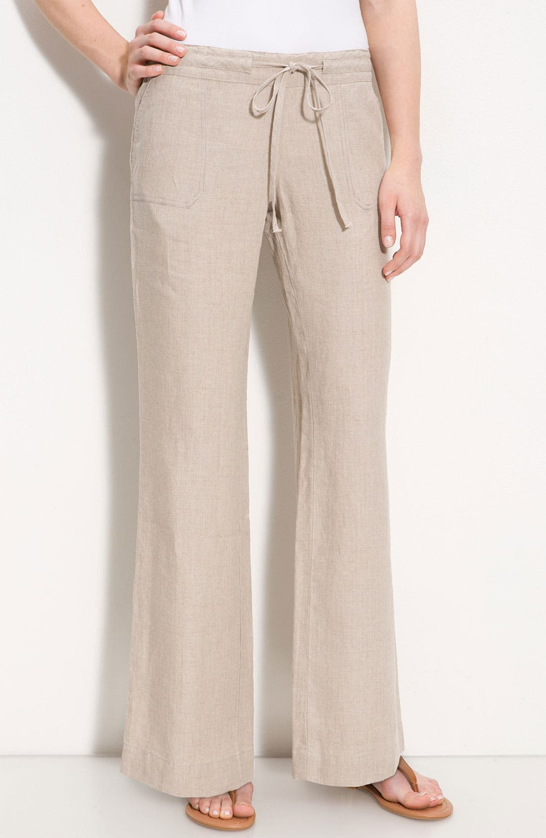 Alternate Image 1 Selected - Allen Allen Drawstring Linen Pants