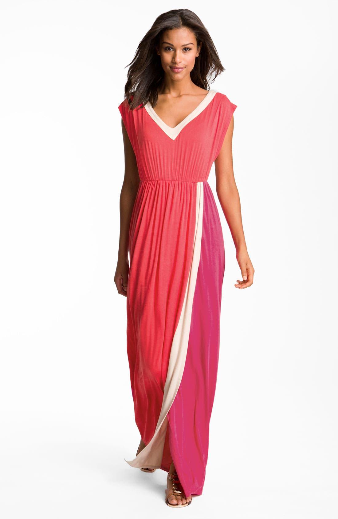 Main Image - Felicity & Coco Contrast Trim Colorblock Jersey Maxi Dress (Nordstrom Exclusive)