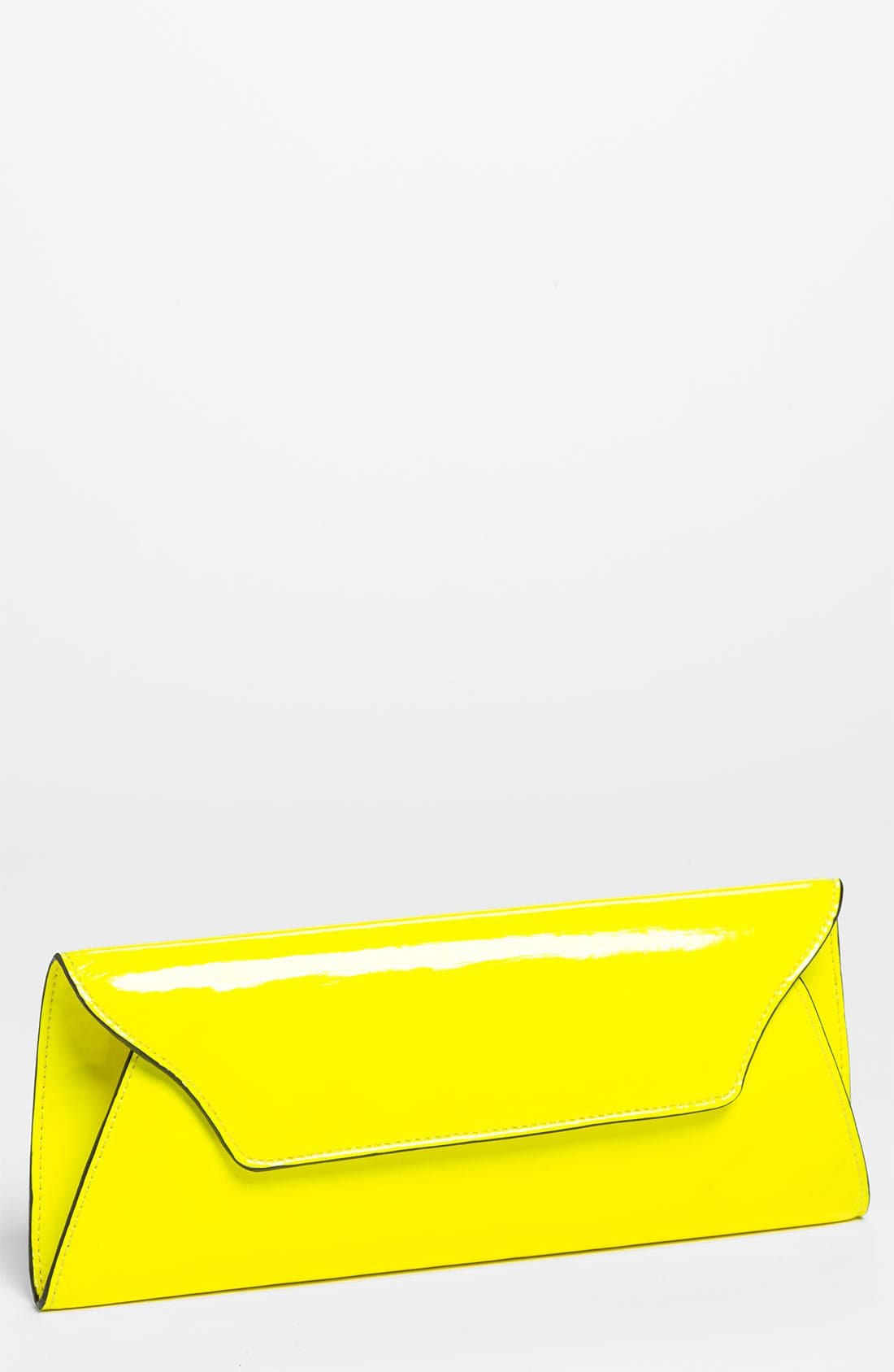 'Riley' Faux Leather Envelope Clutch,                             Main thumbnail 1, color,                             Neon Yellow