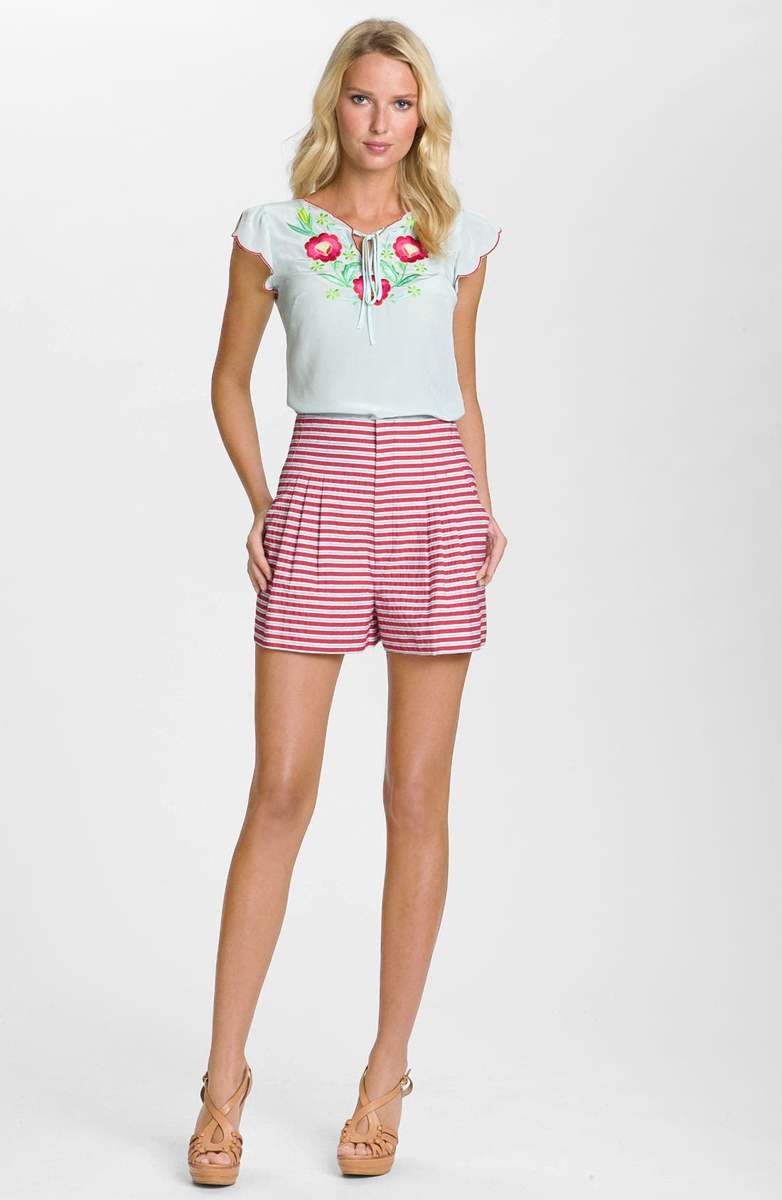 Alternate Image 3  - Nanette Lepore 'Gold Rush' Striped Pleated Shorts
