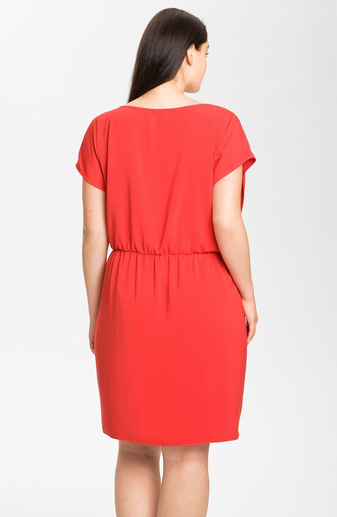 Alternate Image 2  - DKNYC Cap Sleeve Blouson Knit Dress (Plus)