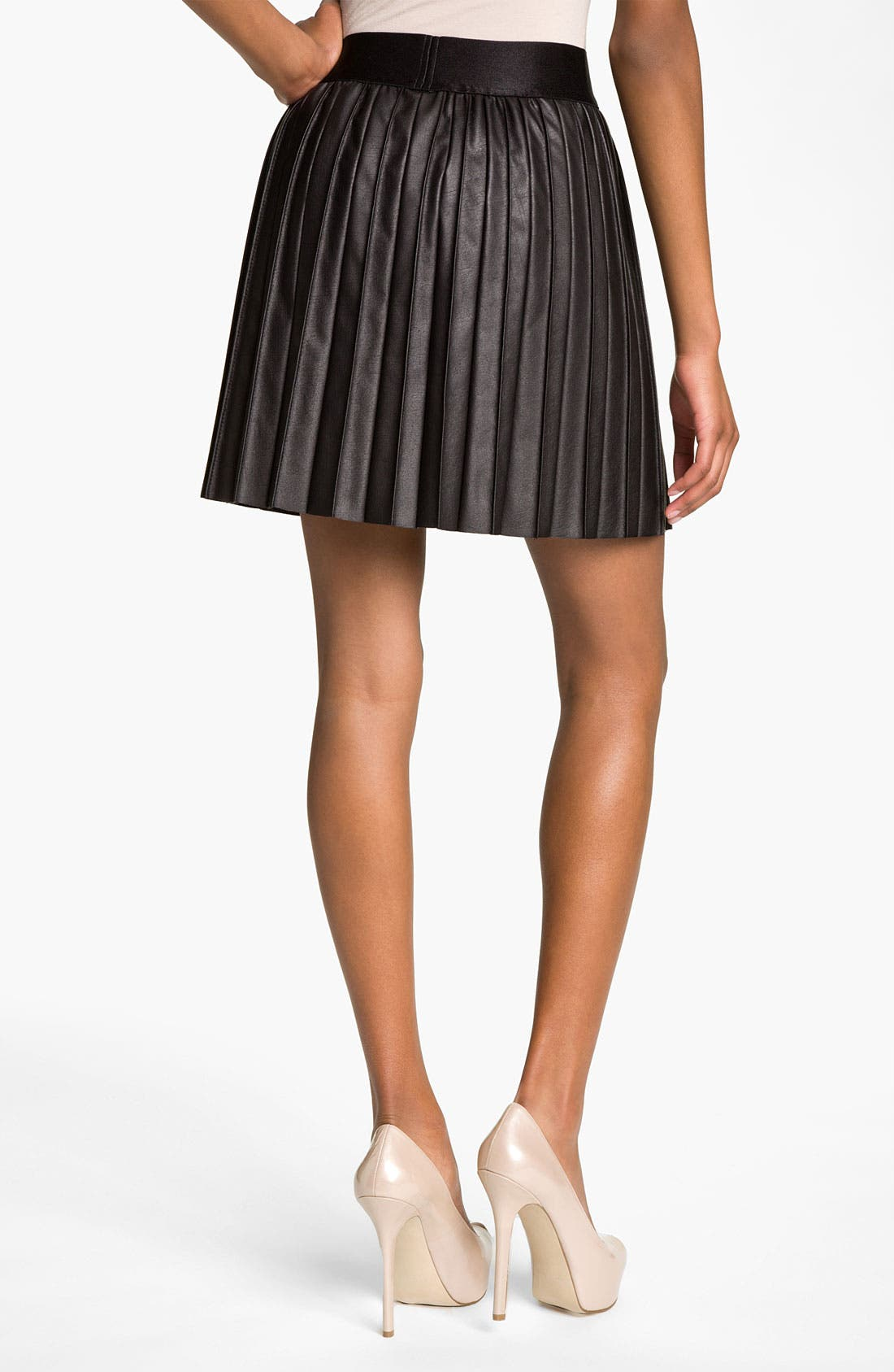 Alternate Image 2  - Hinge® Faux Leather Pintuck Skirt