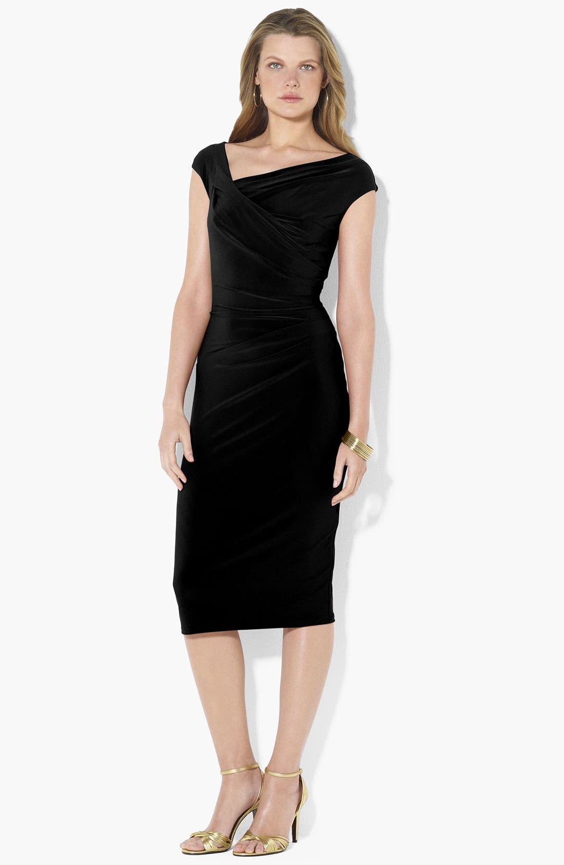 Main Image - Lauren Ralph Lauren Asymmetrical Neck Jersey Sheath Dress