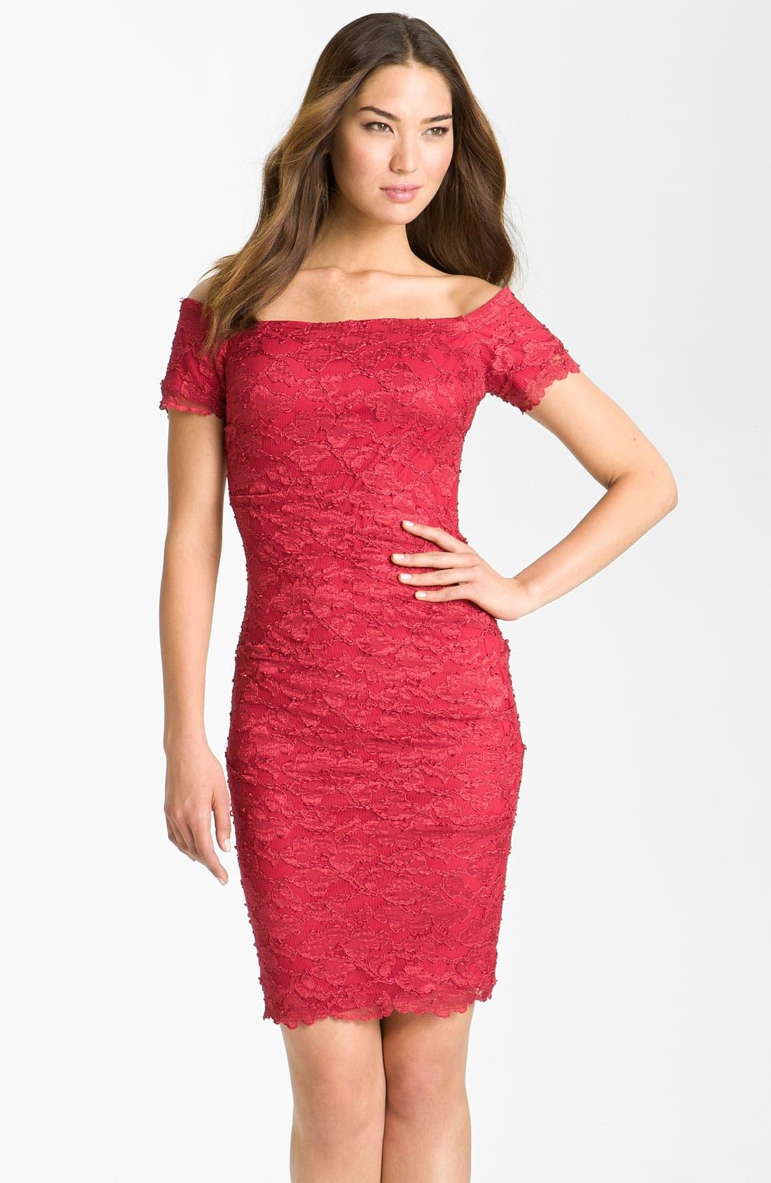 Main Image - Betsy & Adam Square Neck Lace Overlay Sheath Dress