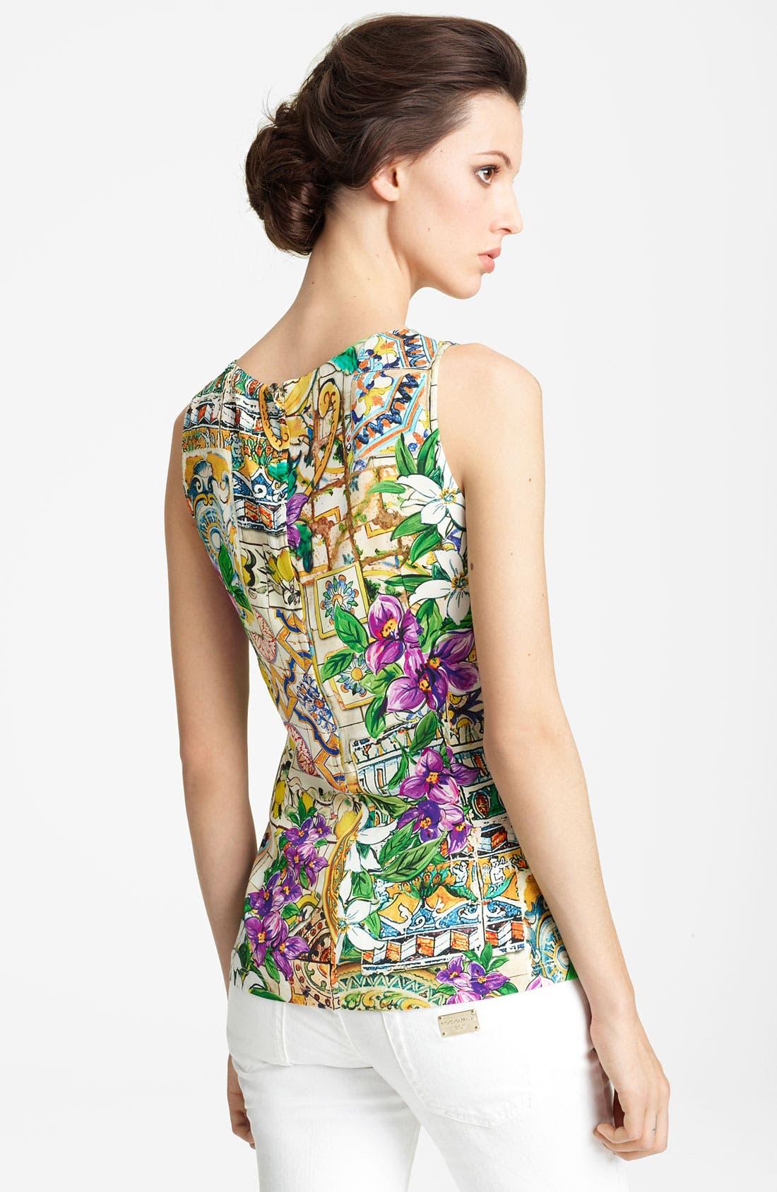 Alternate Image 2  - Dolce&Gabbana Floral Print Shell