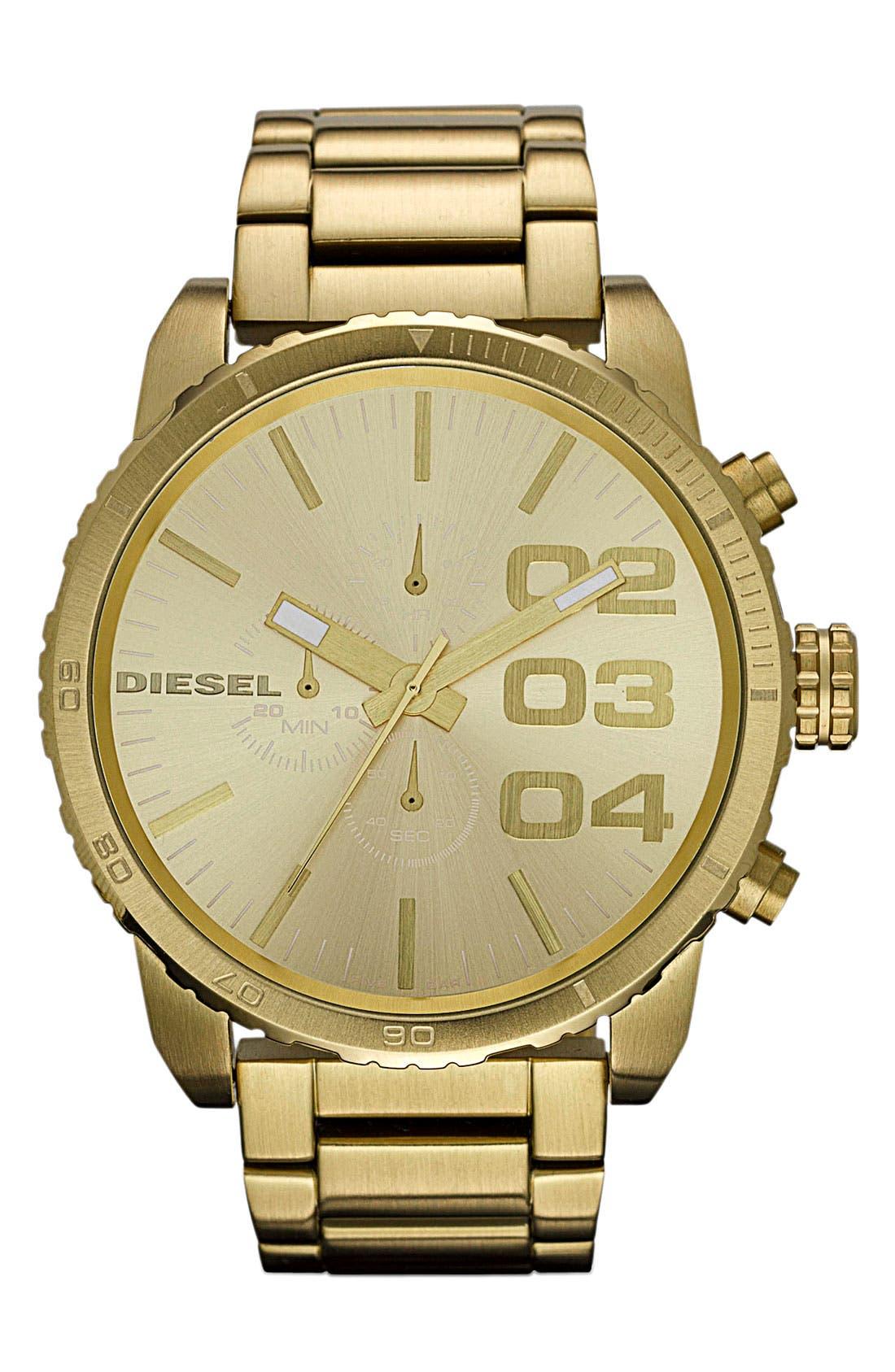 Main Image - DIESEL® 'Double Down' Large Chronograph Bracelet Watch, 52mm