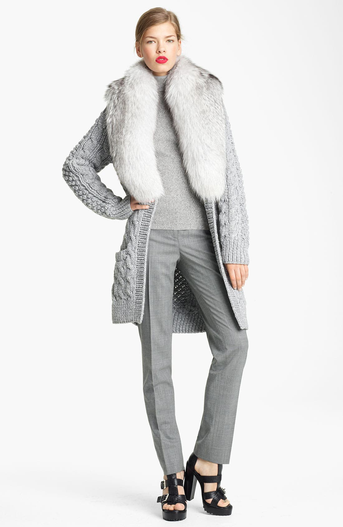 Alternate Image 2  - Michael Kors Genuine Fox Fur Collar Cardigan