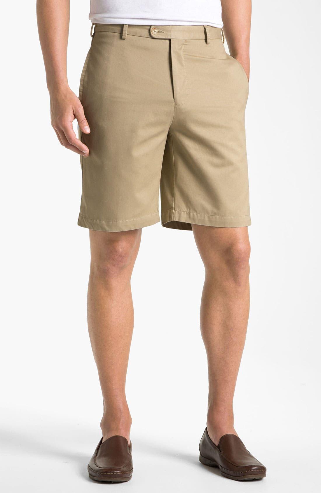 Washed Twill Shorts,                         Main,                         color, Khaki