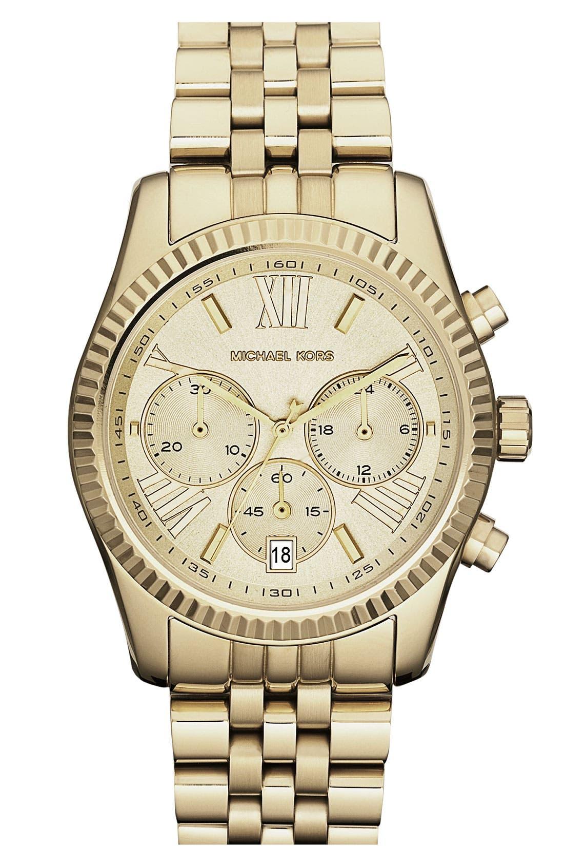'Lexington' Chronograph Bracelet Watch, 38mm,                         Main,                         color, Gold