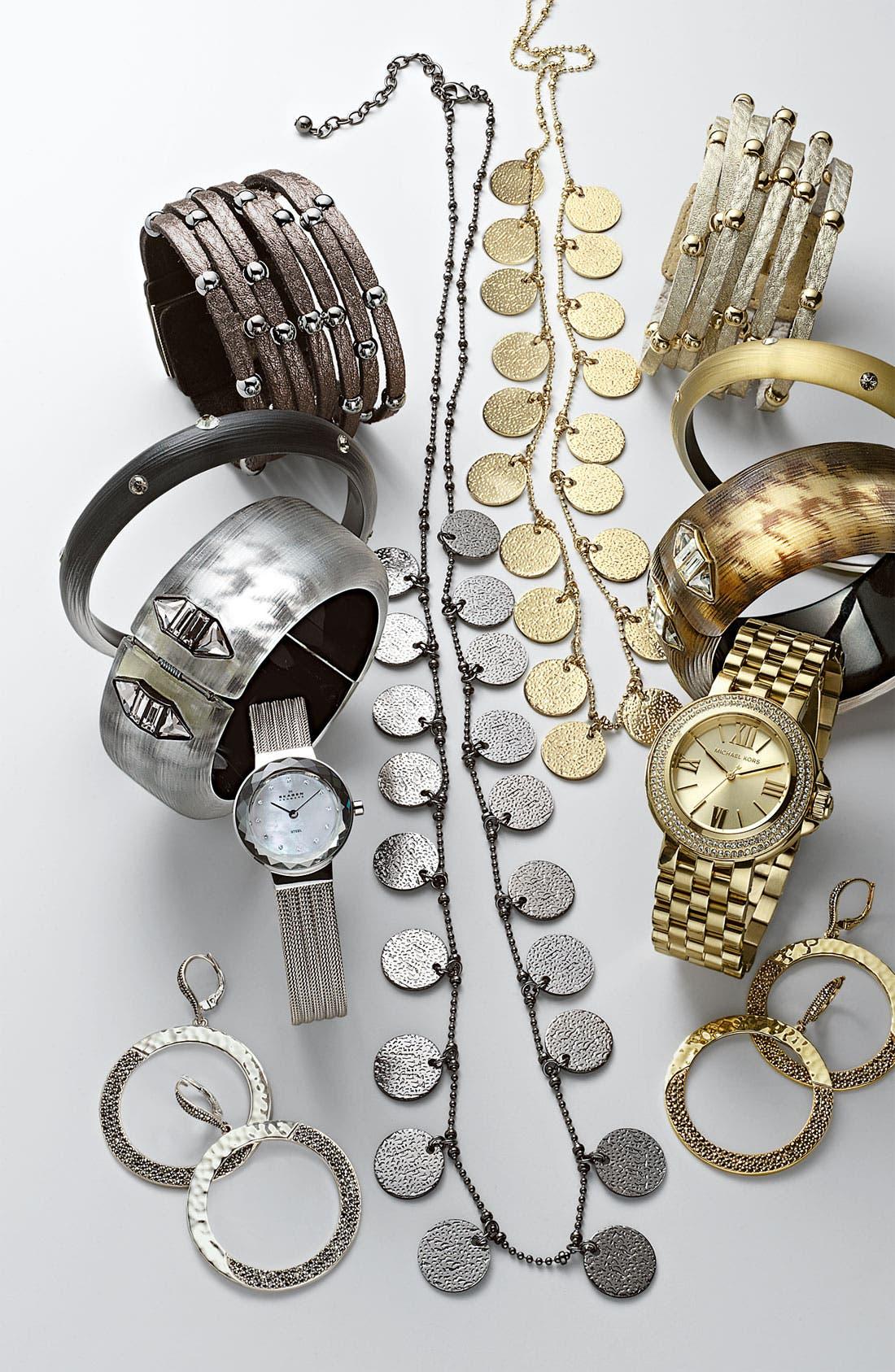 Alternate Image 2  - Cara Accessories Sliced Leather Studded Bracelet