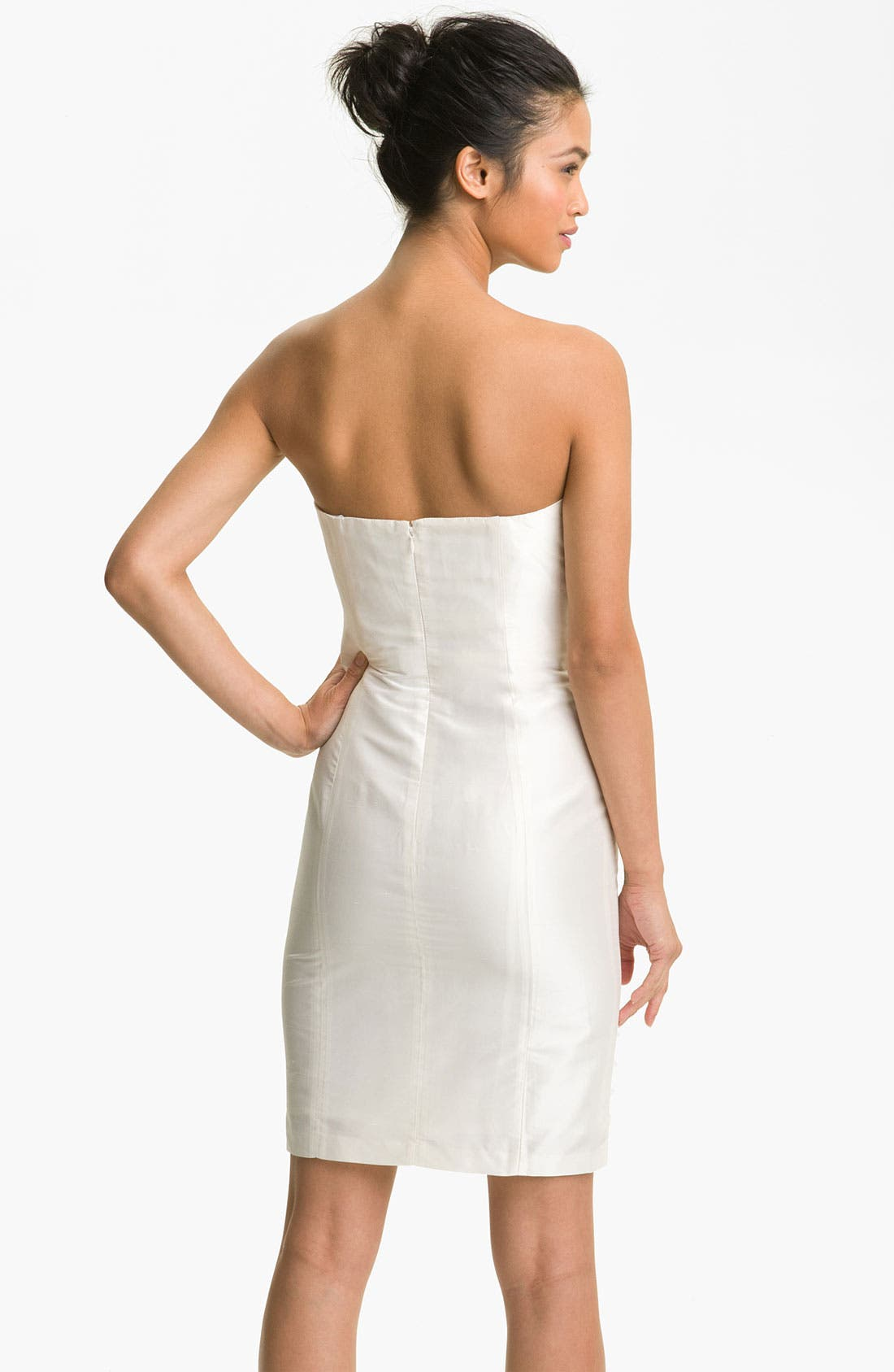 Alternate Image 2  - Suzi Chin for Maggy Boutique Organza Appliqué Strapless Dupioni Dress