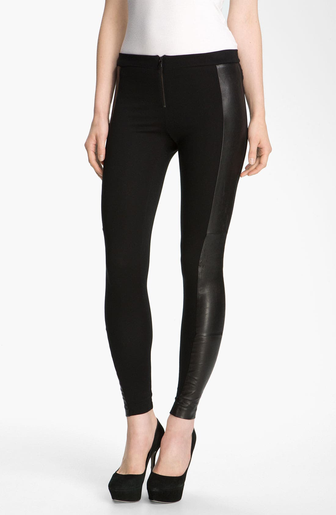 Alternate Image 1 Selected - Alice + Olivia Leather Trim Leggings