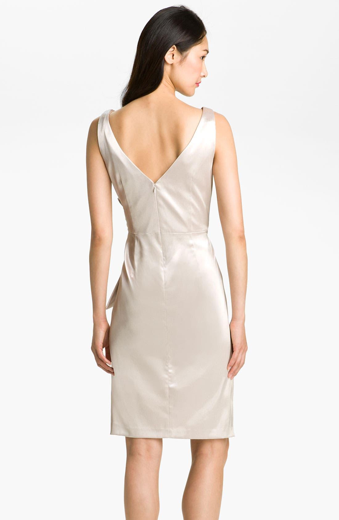 Alternate Image 2  - Maggy London Side Bow Stretch Satin Sheath Dress