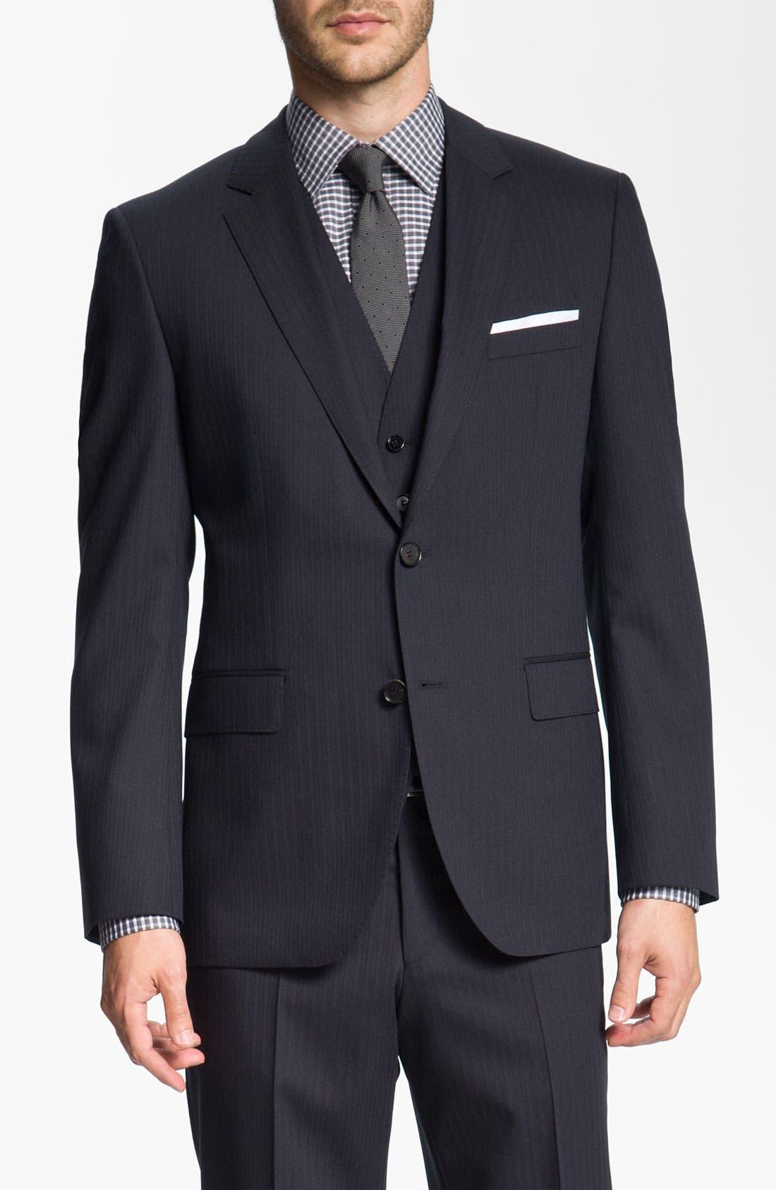 Alternate Image 1 Selected - BOSS Black 'James/Sharp' Trim Fit Three Piece Suit