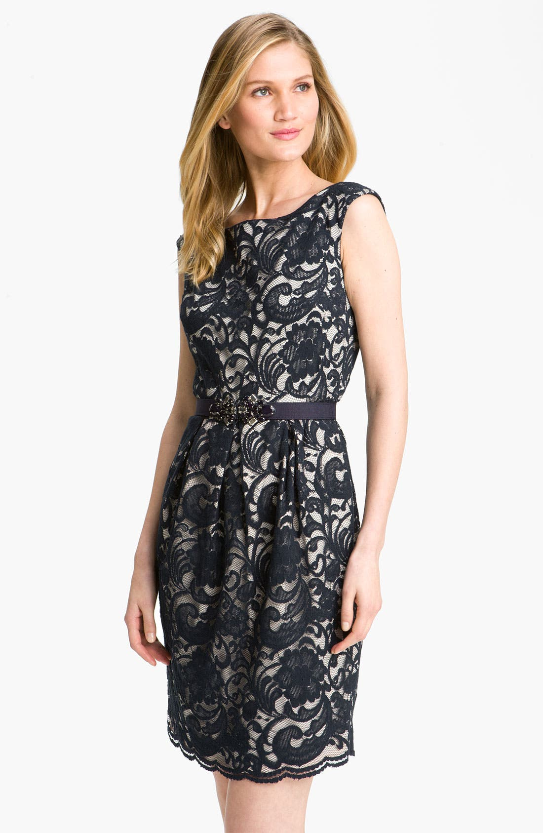 Main Image - Eliza J Jewel Belted Lace Sheath Dress