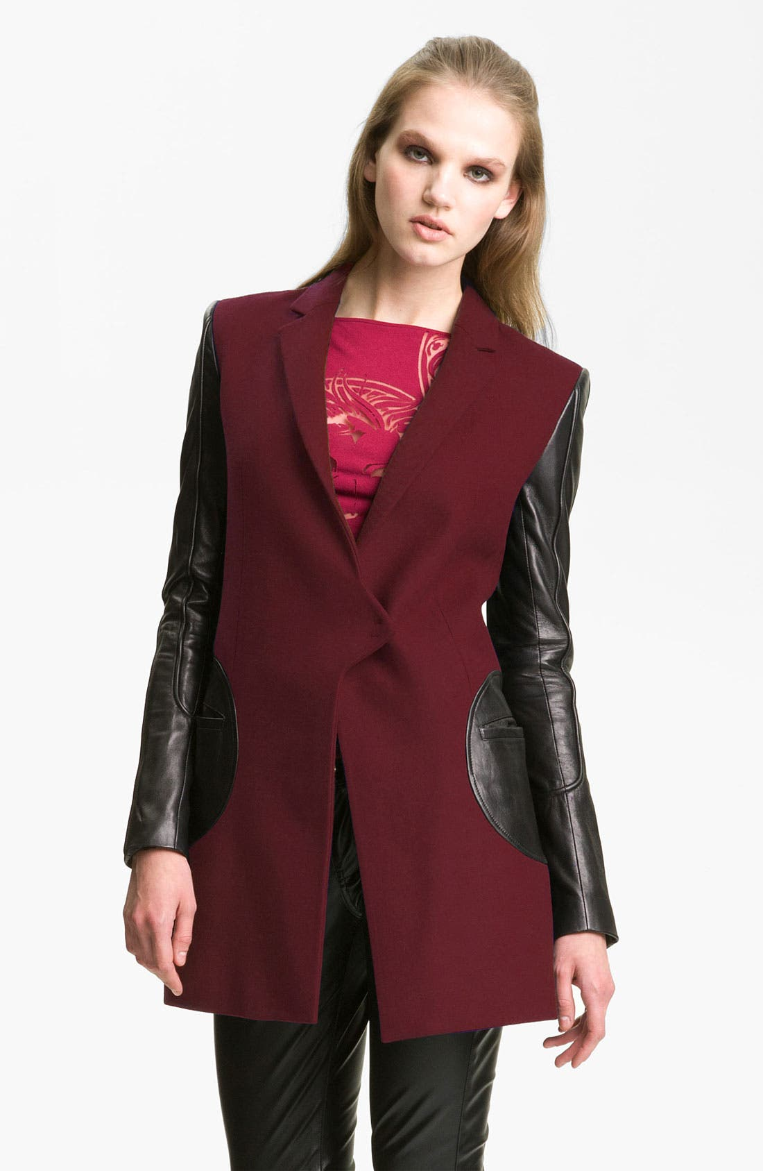 Alternate Image 1 Selected - Versus Leather Sleeve Jacket