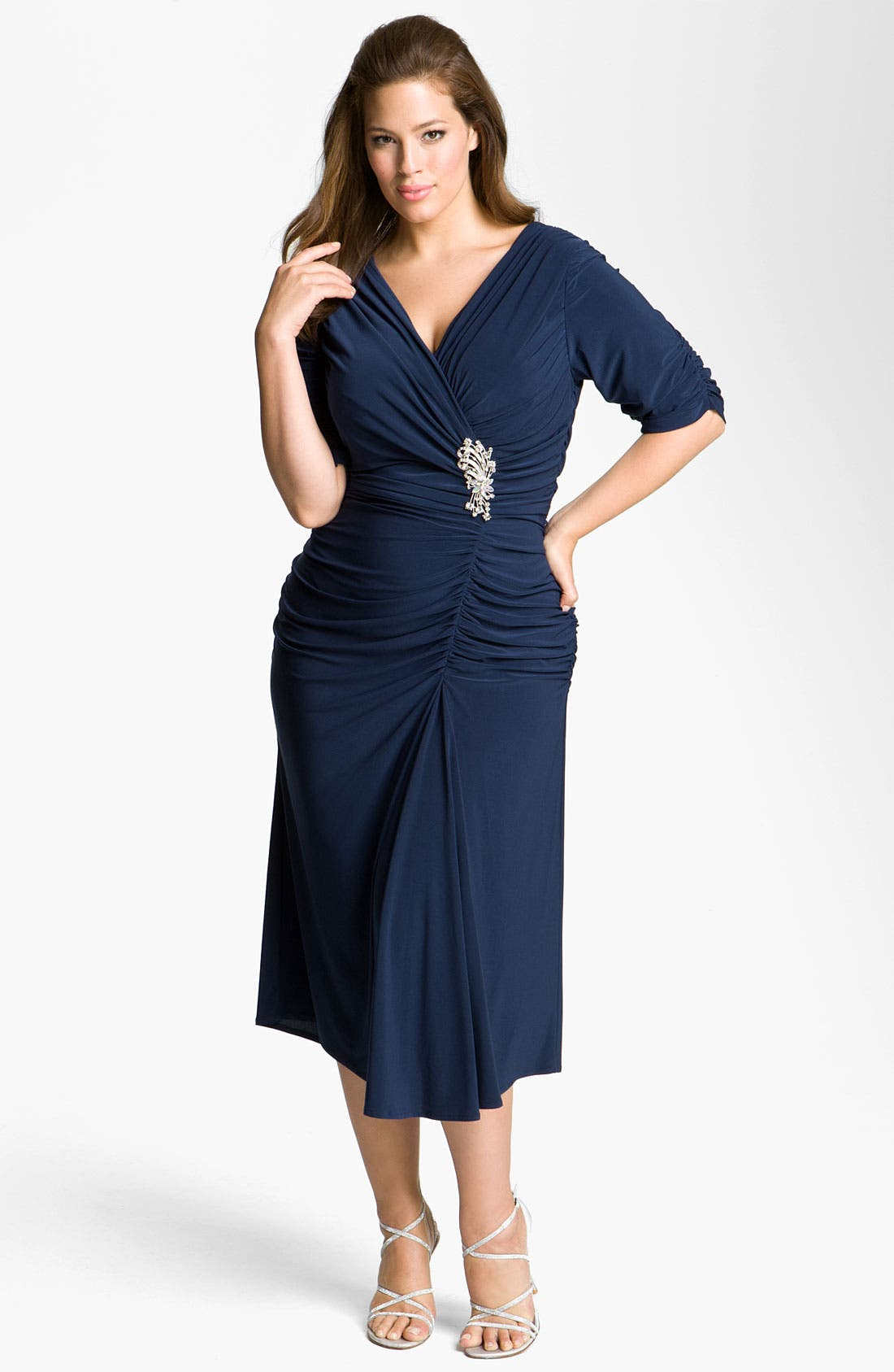 Main Image - Alex Evenings Jeweled Ruched Jersey Dress (Plus)