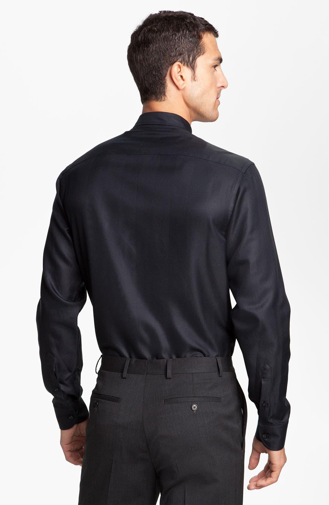 Alternate Image 2  - Armani Collezioni Herringbone Woven Shirt