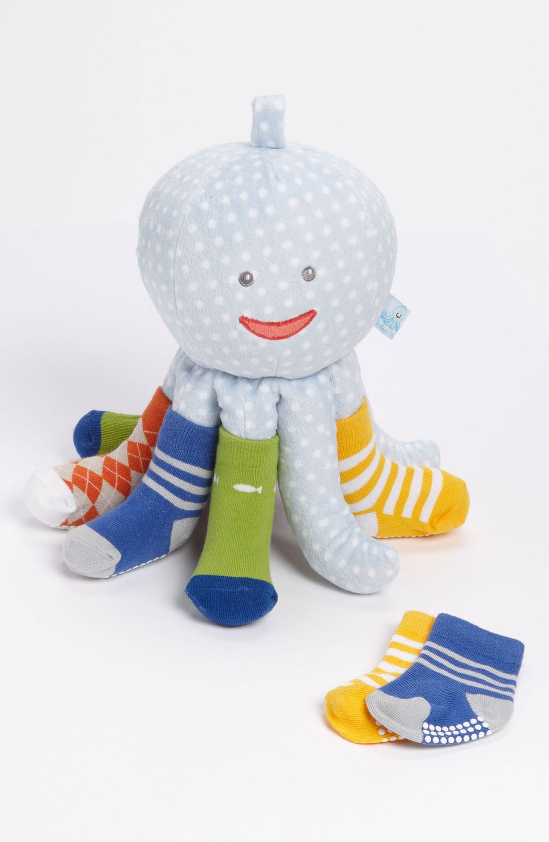 Main Image - Baby Aspen 'Mr. Sock T. Pus' Stuffed Animal & Socks (4-Pack) (Infant)