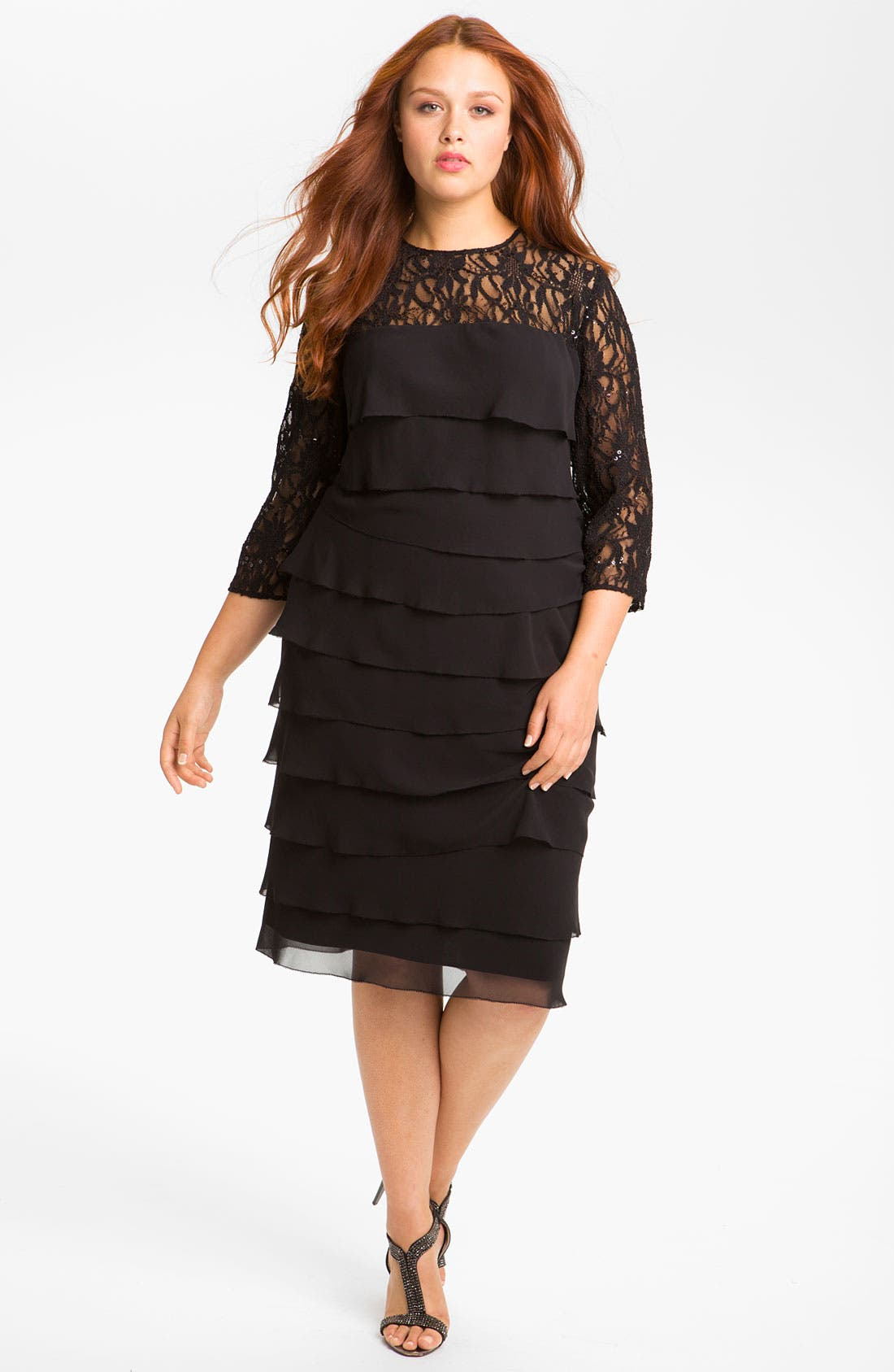 Alternate Image 1 Selected - Alex Evenings Lace & Chiffon Shift Dress (Plus)