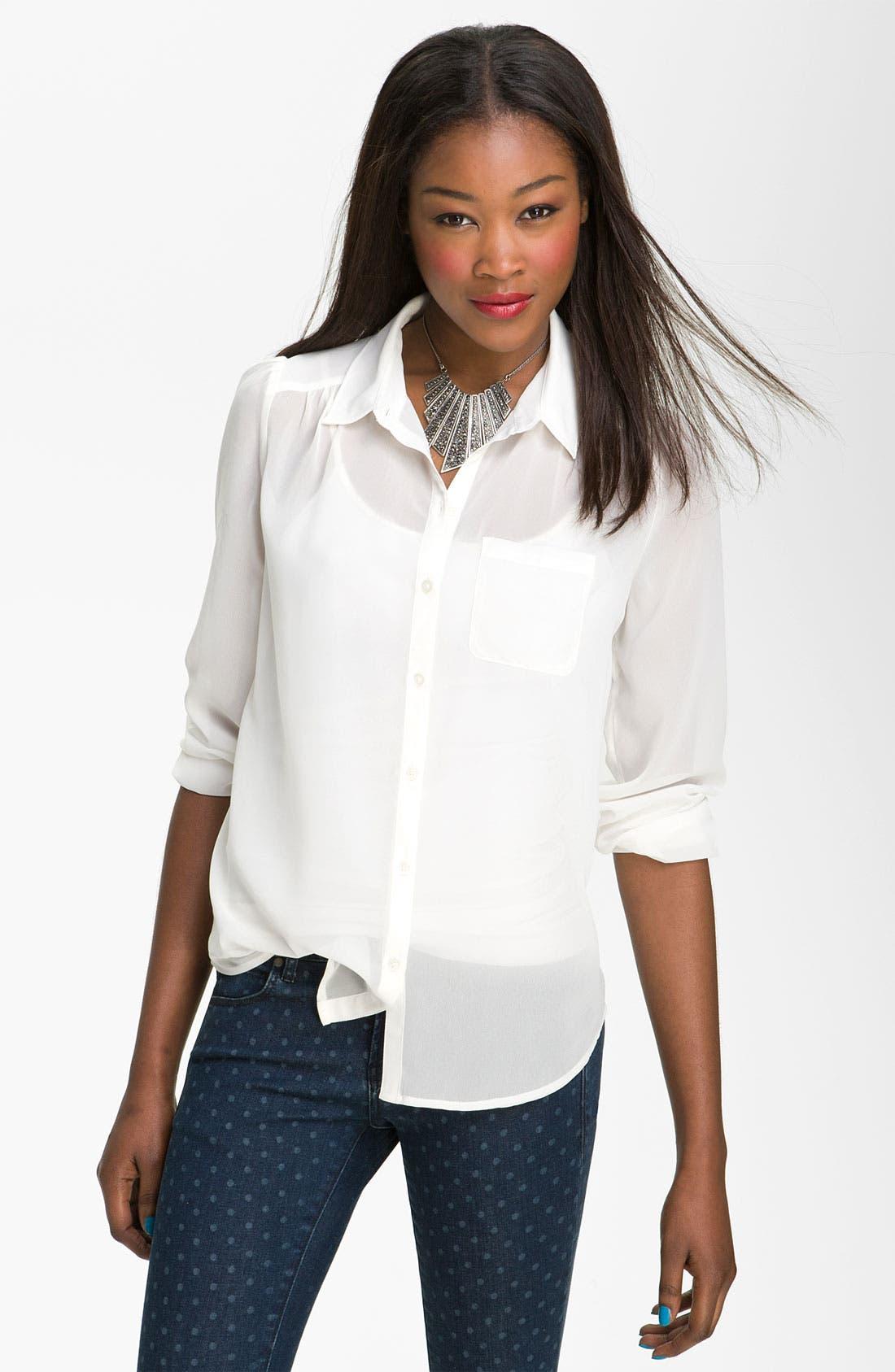 Main Image - Frenchi® Sheer Chiffon Shirt (Juniors)