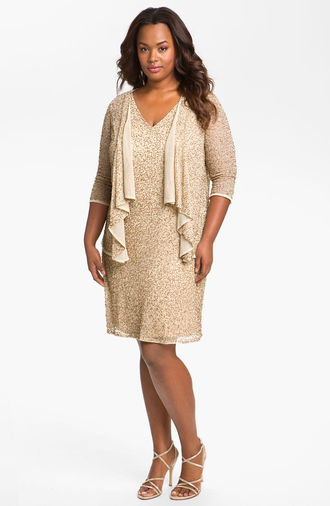 Main Image - JS Collections Beaded Sheath Dress & Jacket (Plus)