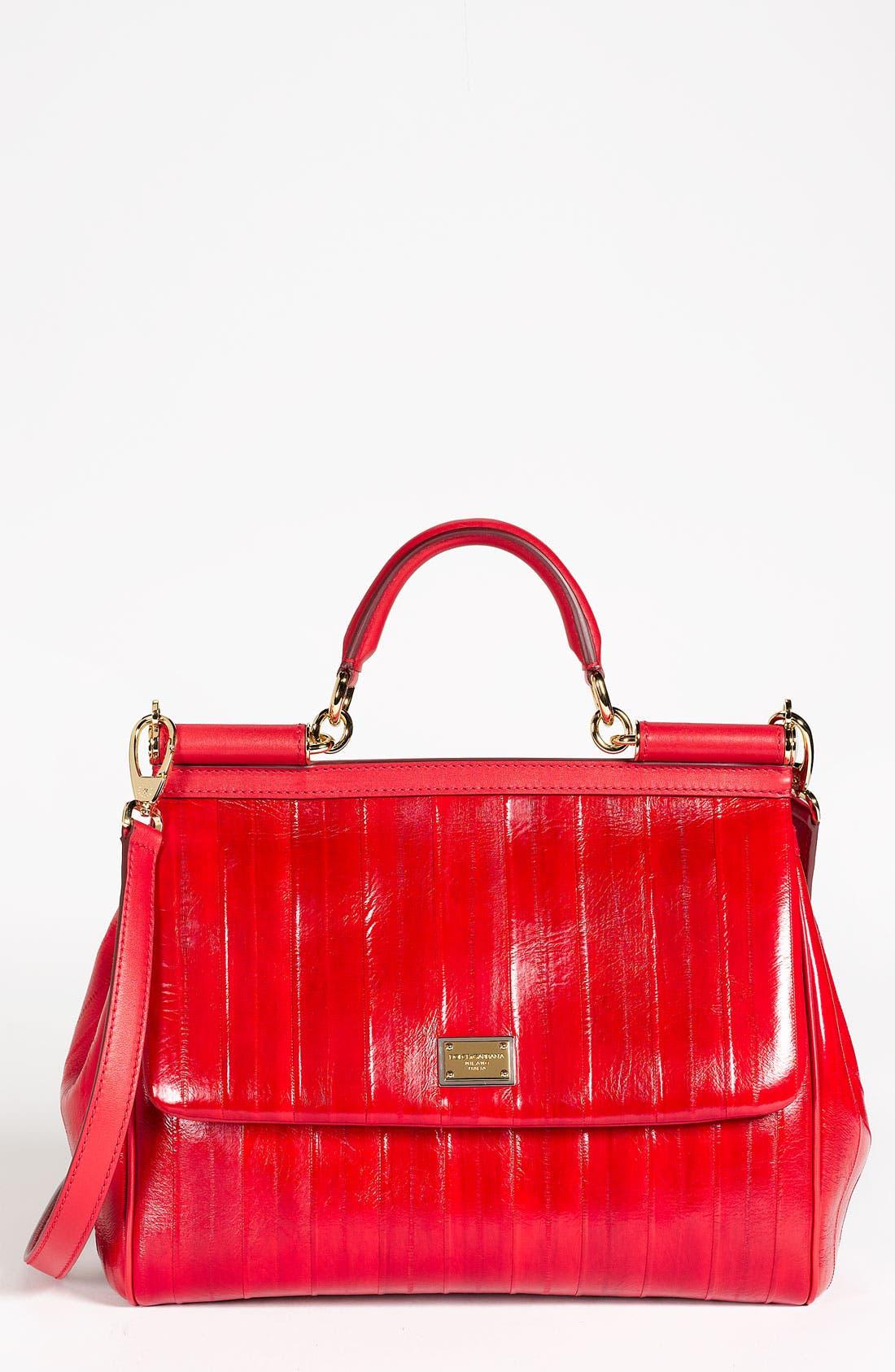 Alternate Image 1 Selected - Dolce&Gabbana 'Miss Sicily' Eel & Leather Satchel