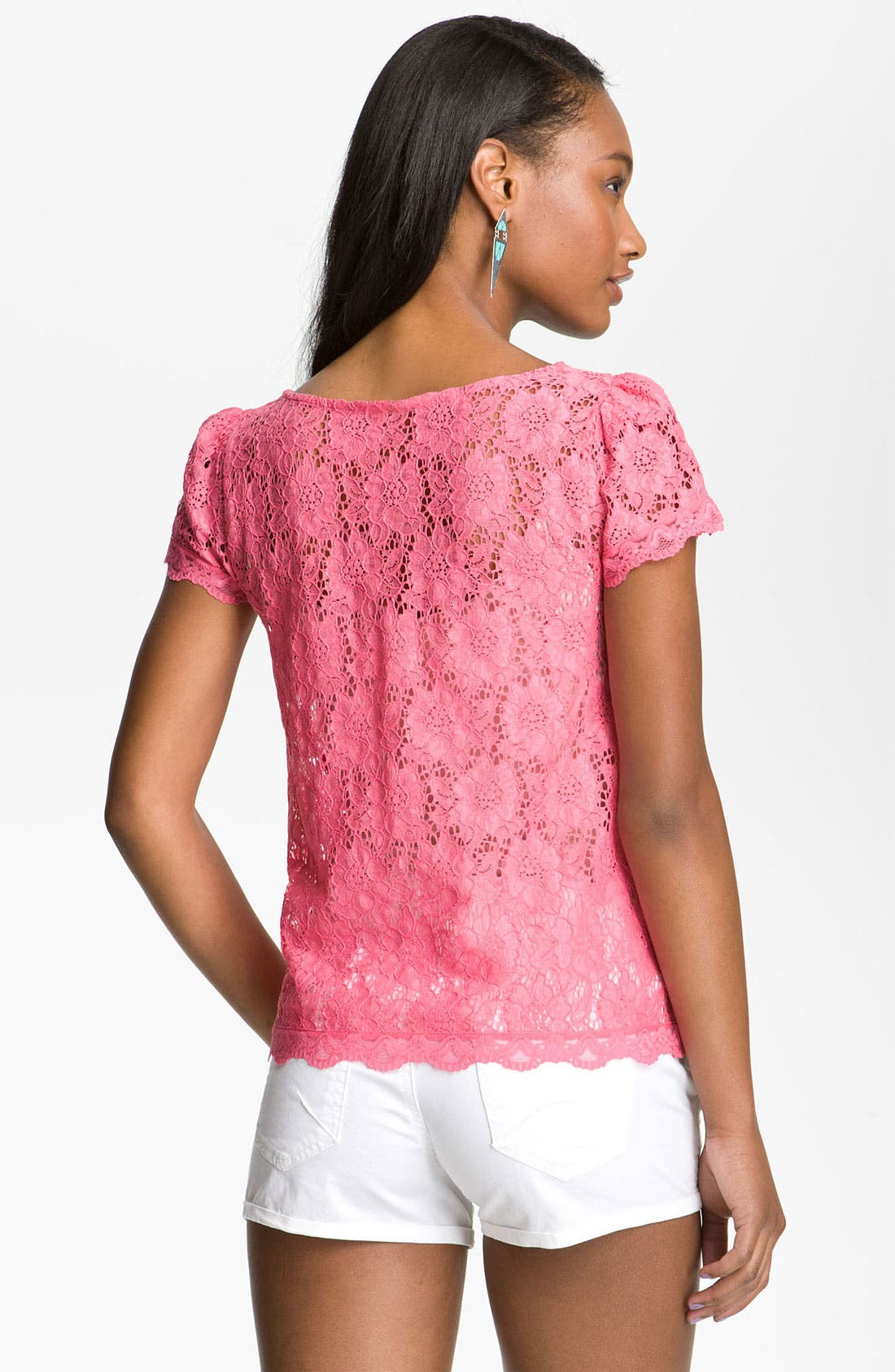 Alternate Image 2  - Frenchi® Lace Tee (Juniors)