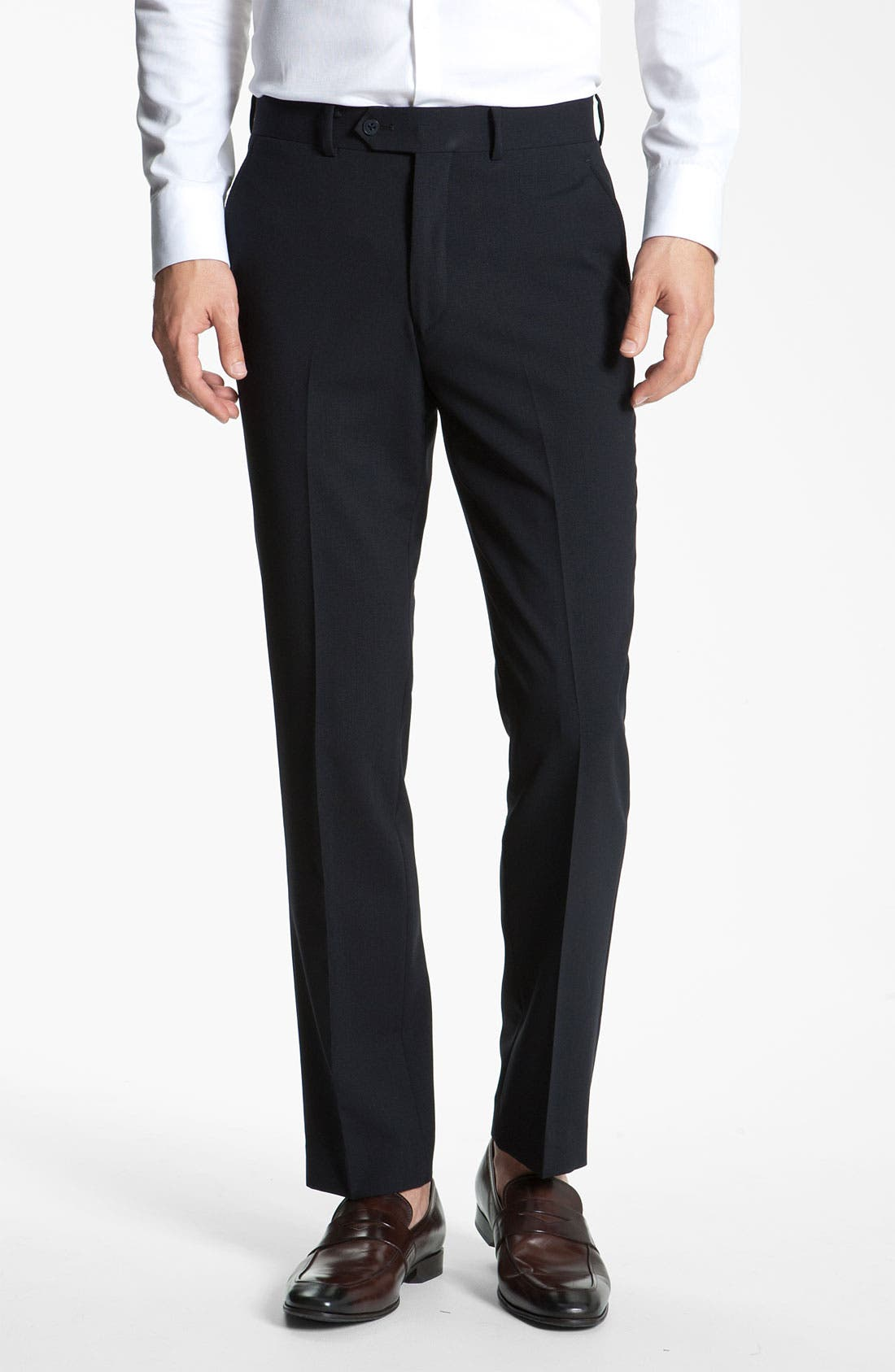 Main Image - John Varvatos Star USA Slim Fit Flat Front Wool Trousers