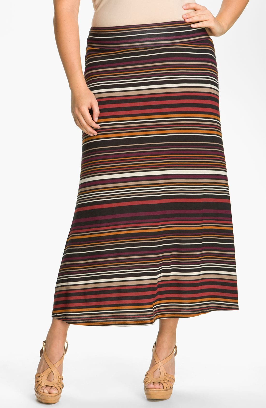 Alternate Image 1 Selected - Karen Kane Stripe Maxi Skirt (Plus)