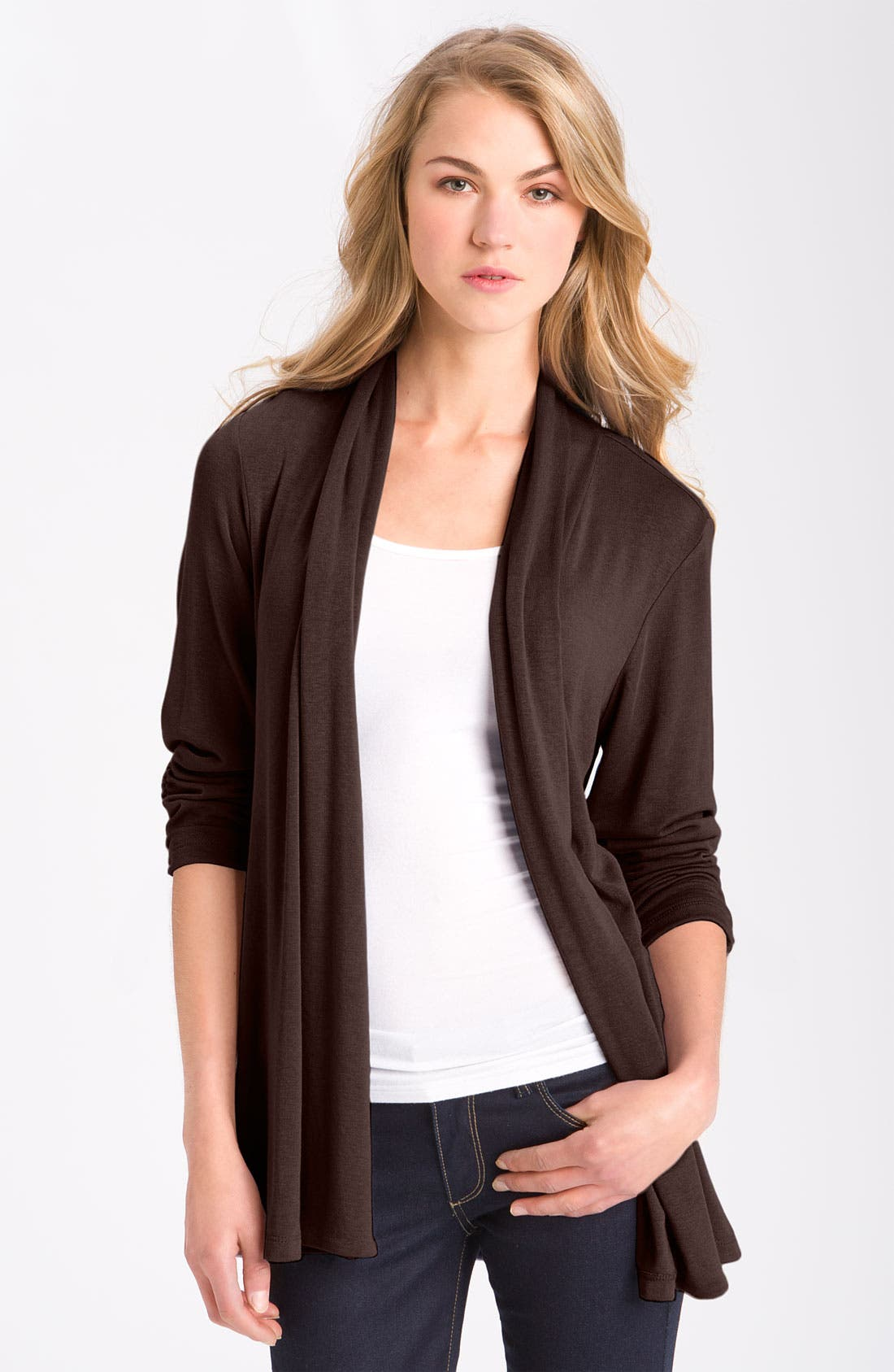 Alternate Image 1 Selected - MOD.lusive Ruched Sleeve Long Cardigan (Nordstrom Exclusive)