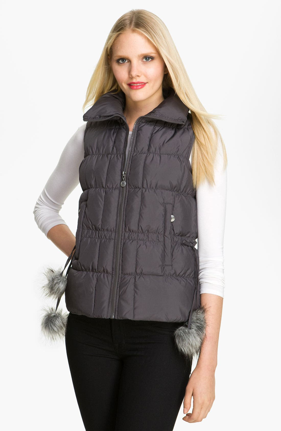 Main Image - Betsey Johnson Pompom Quilted Vest