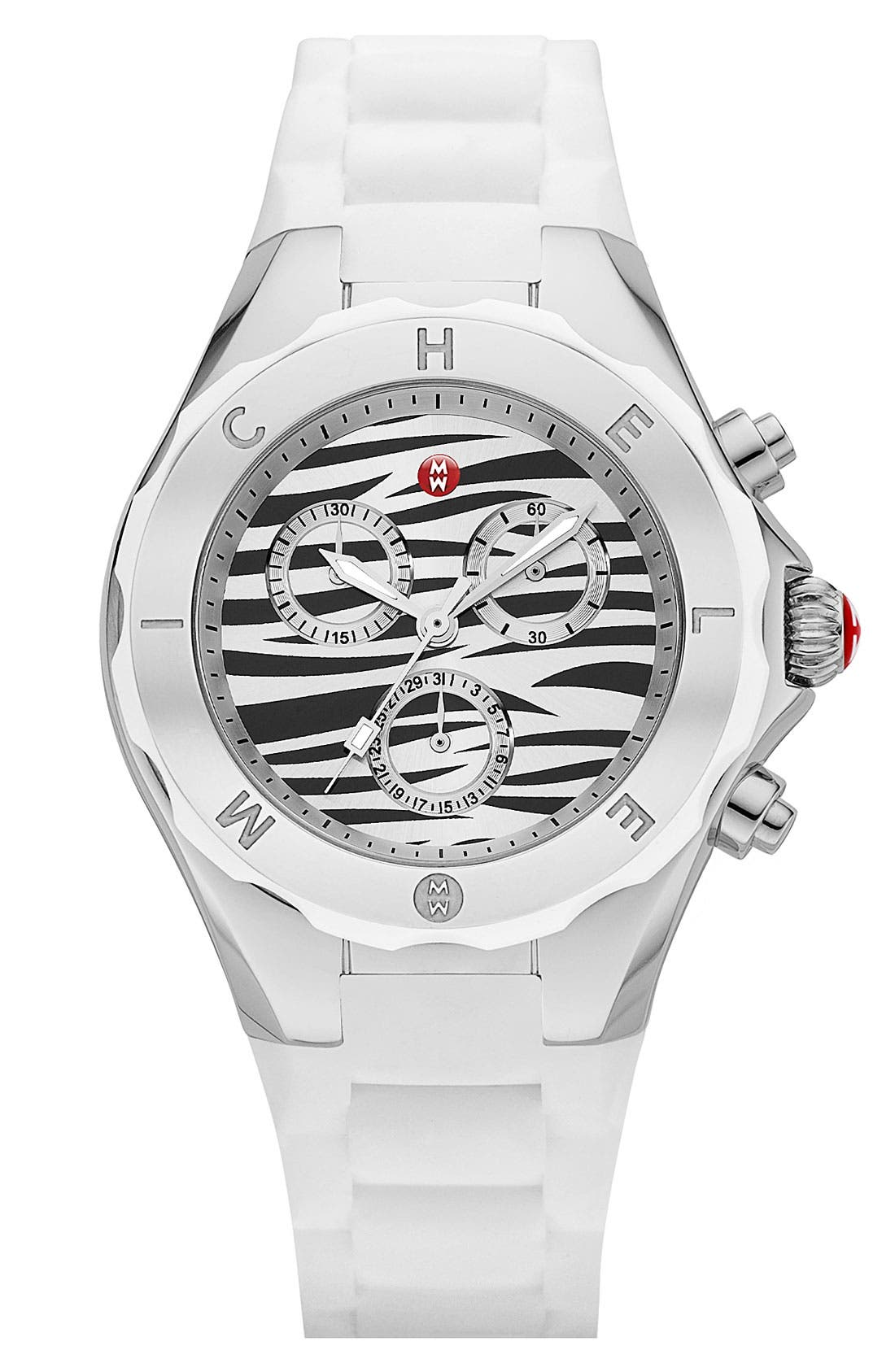 Alternate Image 1 Selected - MICHELE 'Tahitian Jelly Bean' Zebra Dial Watch