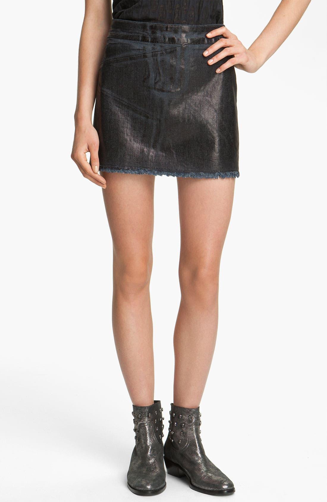 Main Image - Zadig & Voltaire Oil Washed Stretch Denim Miniskirt