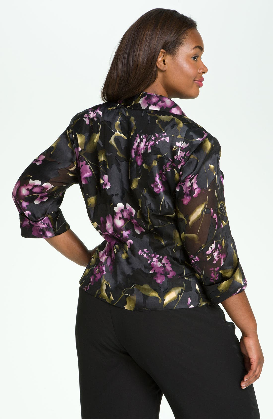 Alternate Image 2  - Alex Evenings Print Wrap Blouse (Plus)