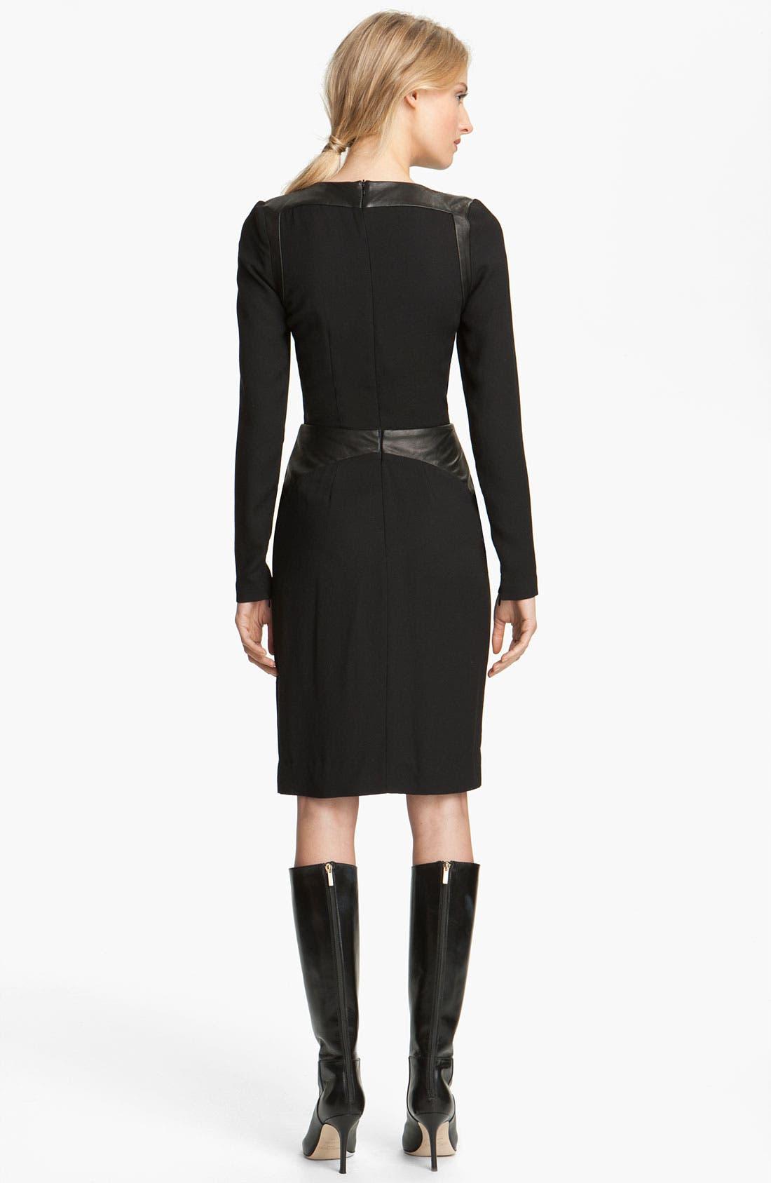 Alternate Image 2  - L'AGENCE Leather Inset Dress