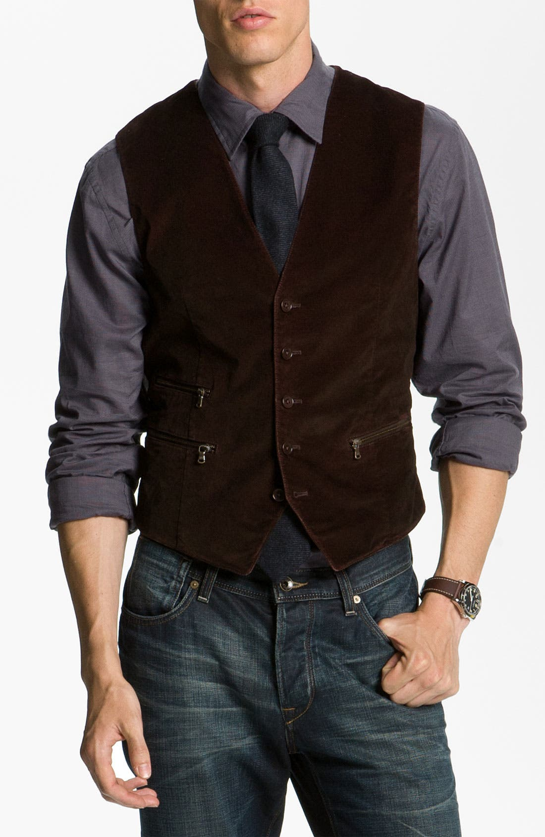 Main Image - John Varvatos Star USA Zip Pocket Vest