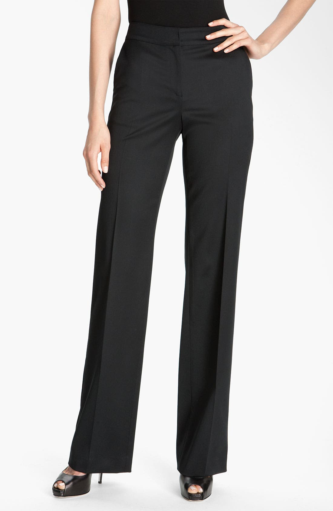 Main Image - St. John Collection Flare Leg Stretch Venetian Wool Pants