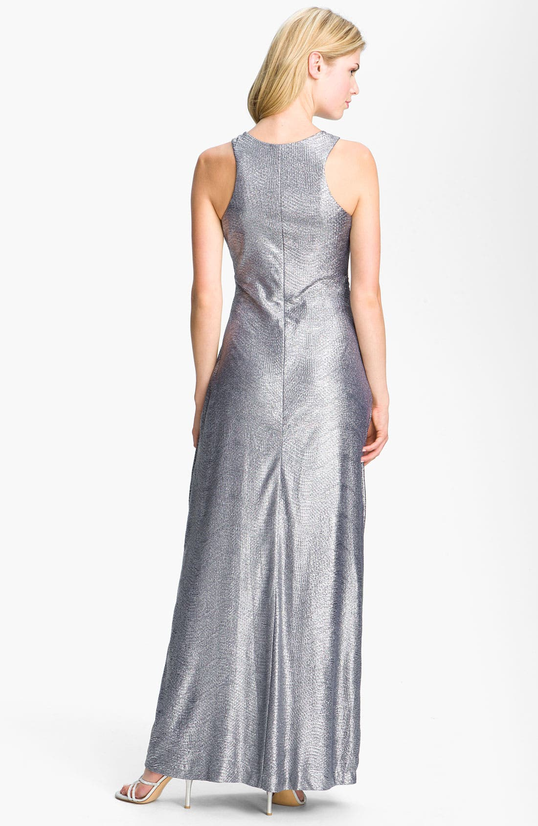 Alternate Image 2  - Cachet Side Ruched Metallic Jersey Gown