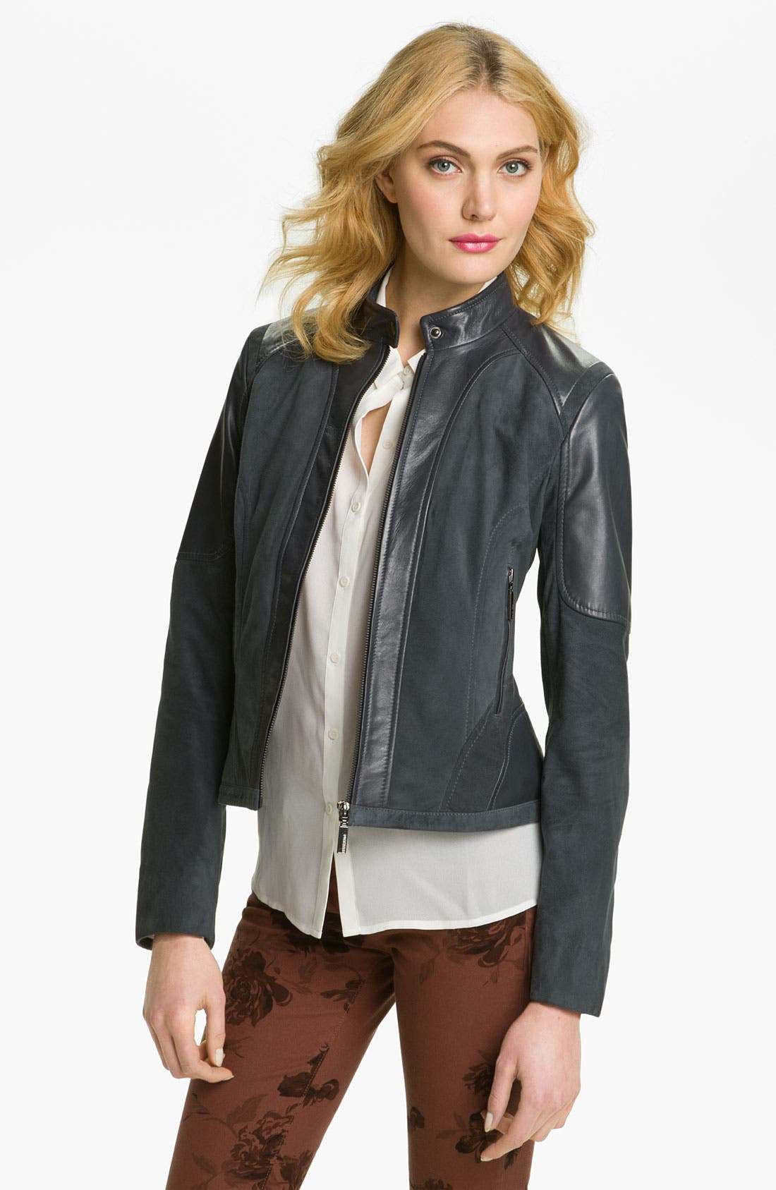 Alternate Image 1 Selected - Bernardo Suede Marble Leather Jacket