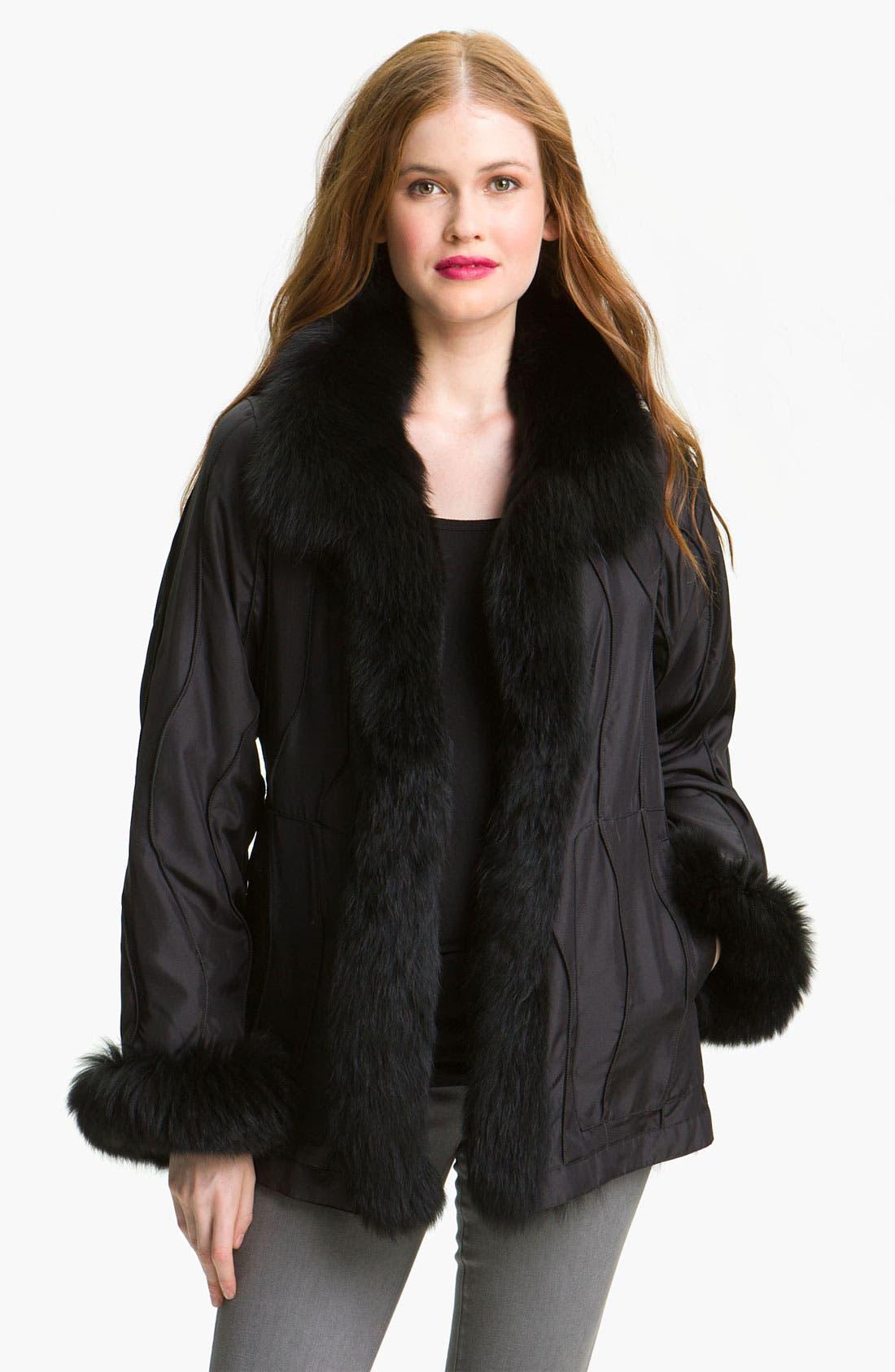 Alternate Image 2  - George Simonton Couture Reversible Genuine Fox Fur & Silk Coat