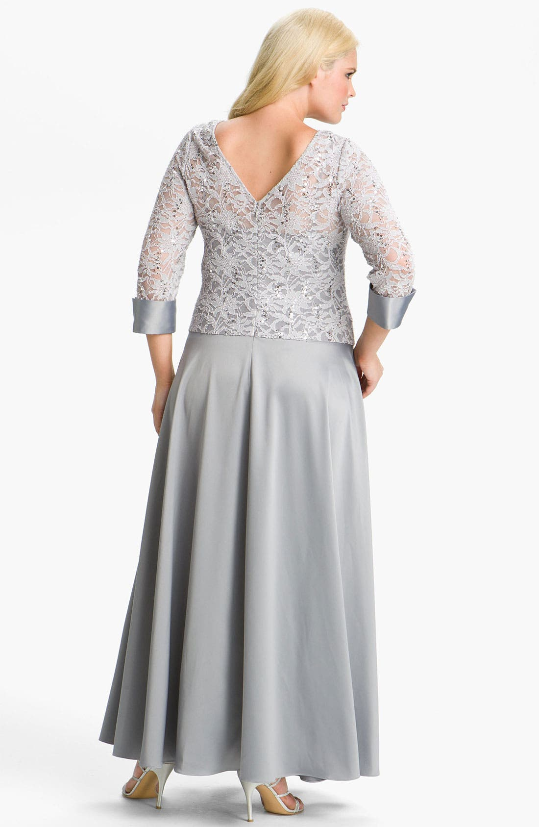 Alternate Image 2  - JS Collections Lace & Satin Illusion Bodice Gown (Plus)
