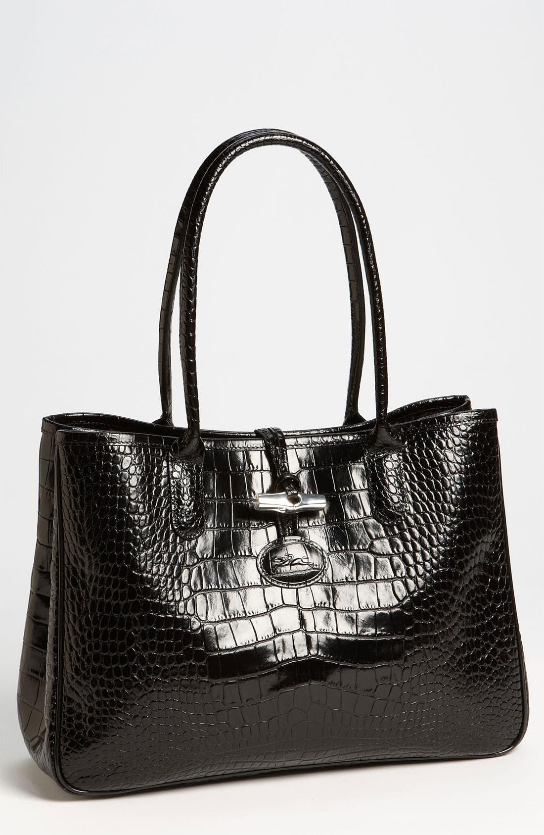 Alternate Image 1 Selected - Longchamp 'Roseau Croco' Shoulder Tote